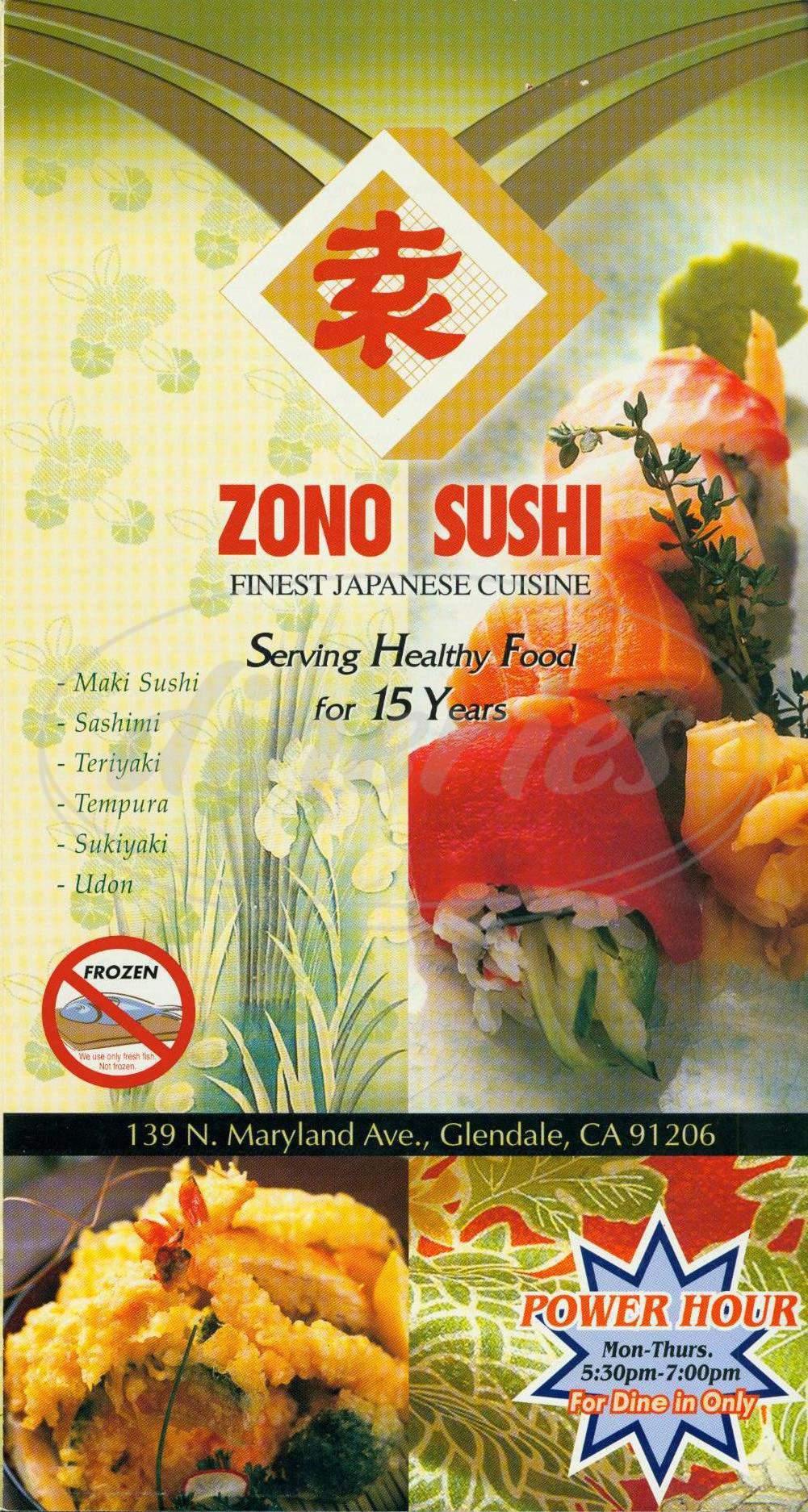 menu for Zono Sushi