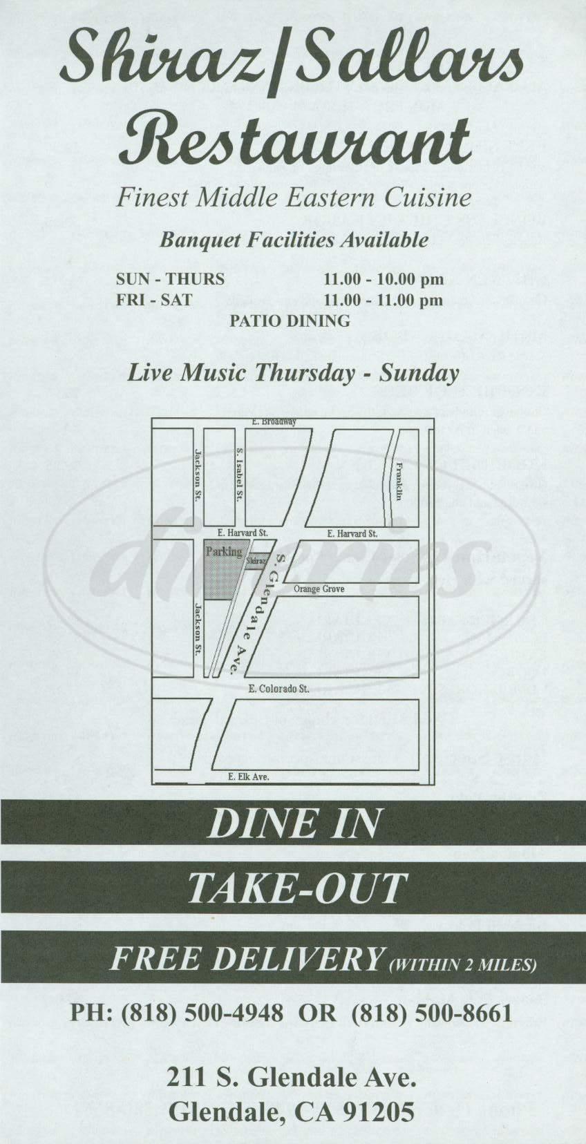 menu for Shiraz Sallars Restaurant