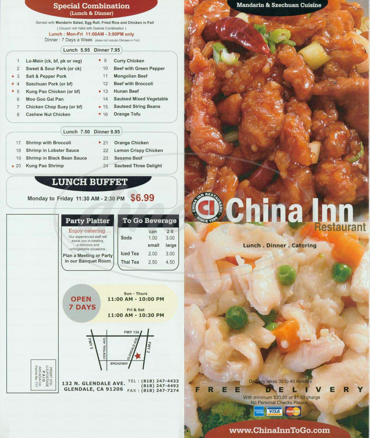 menu for China Inn
