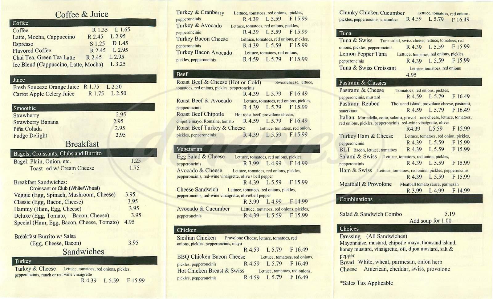 menu for Tom's Cafe