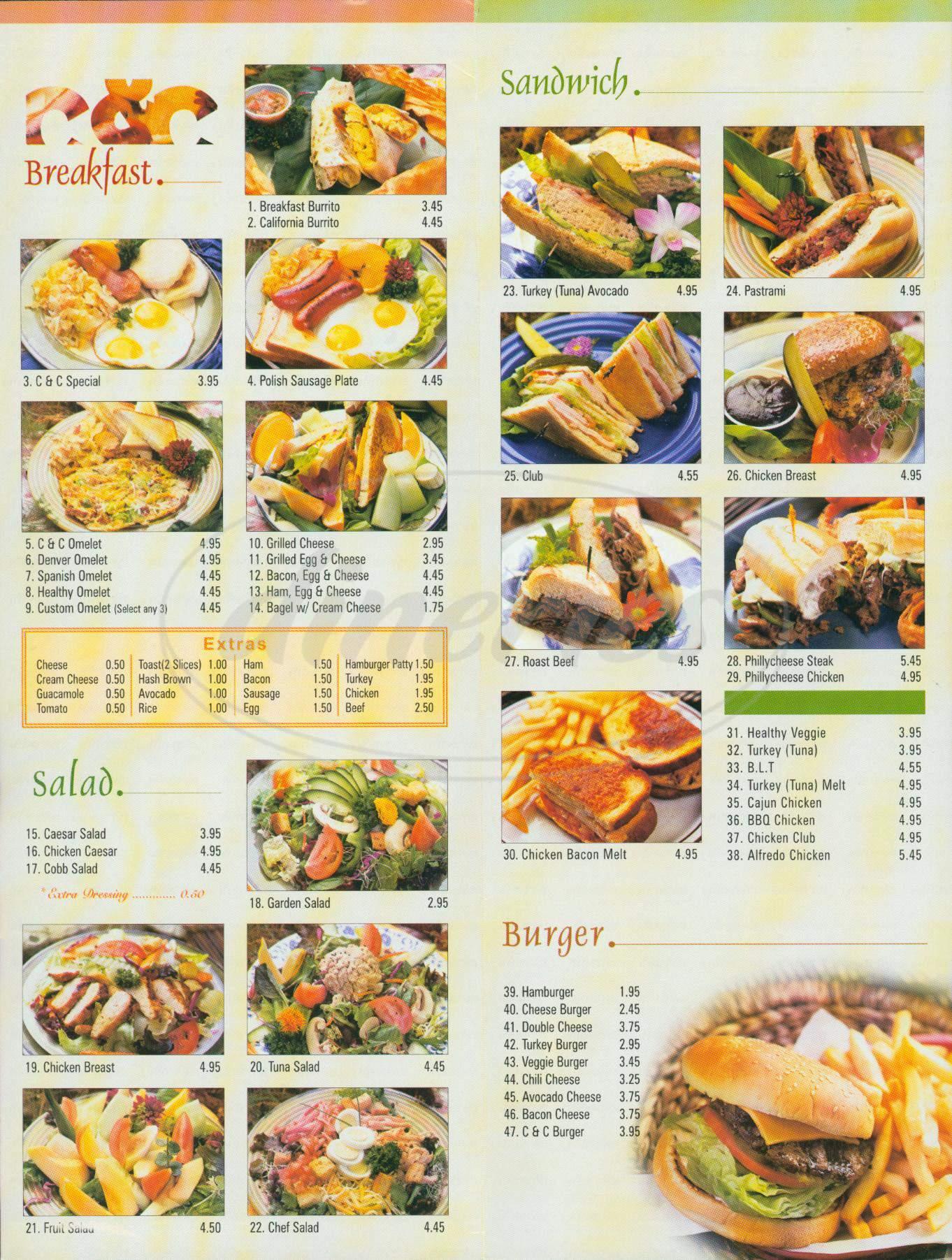 menu for C & C Internet Cafe