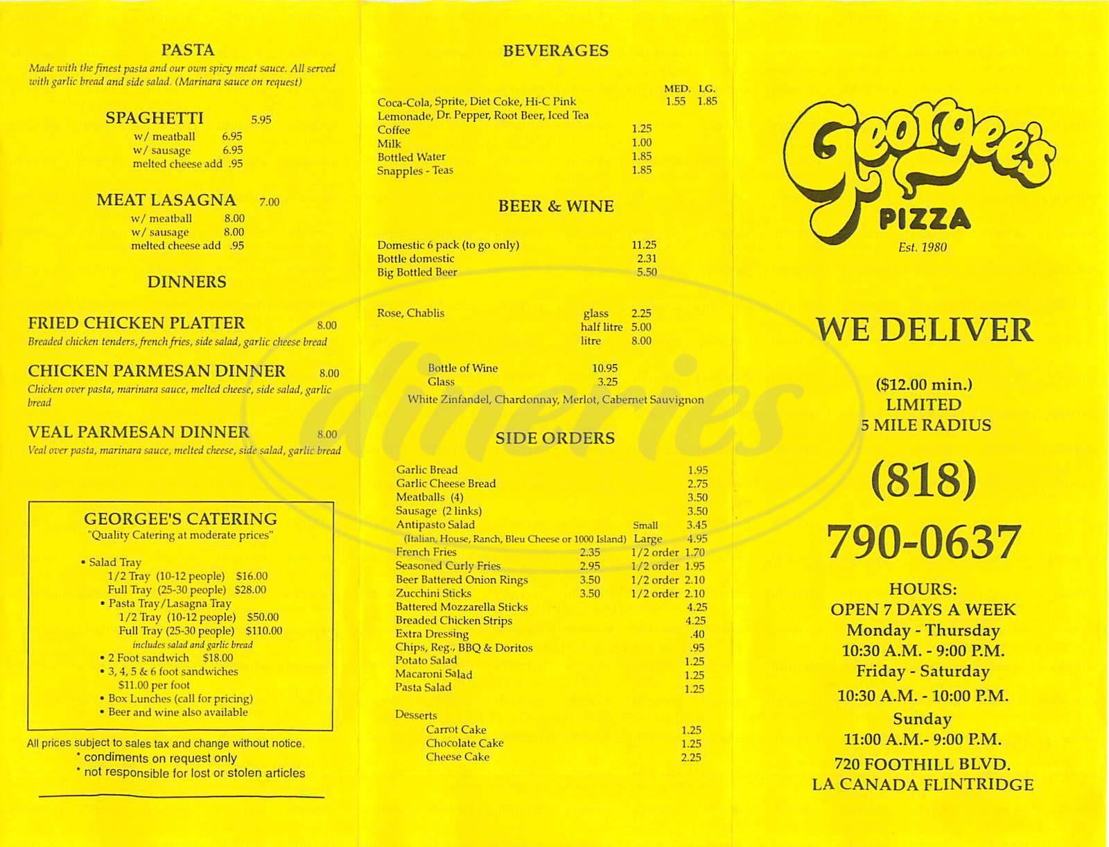 menu for Georgee's Pizza