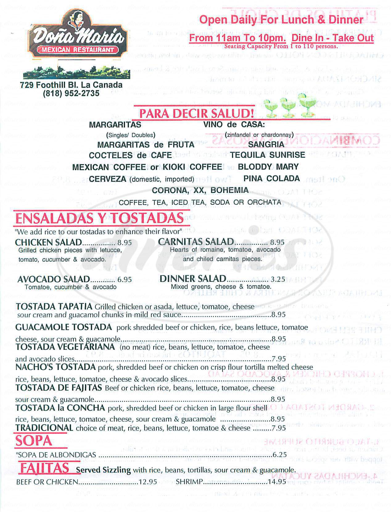 menu for Dona Maria