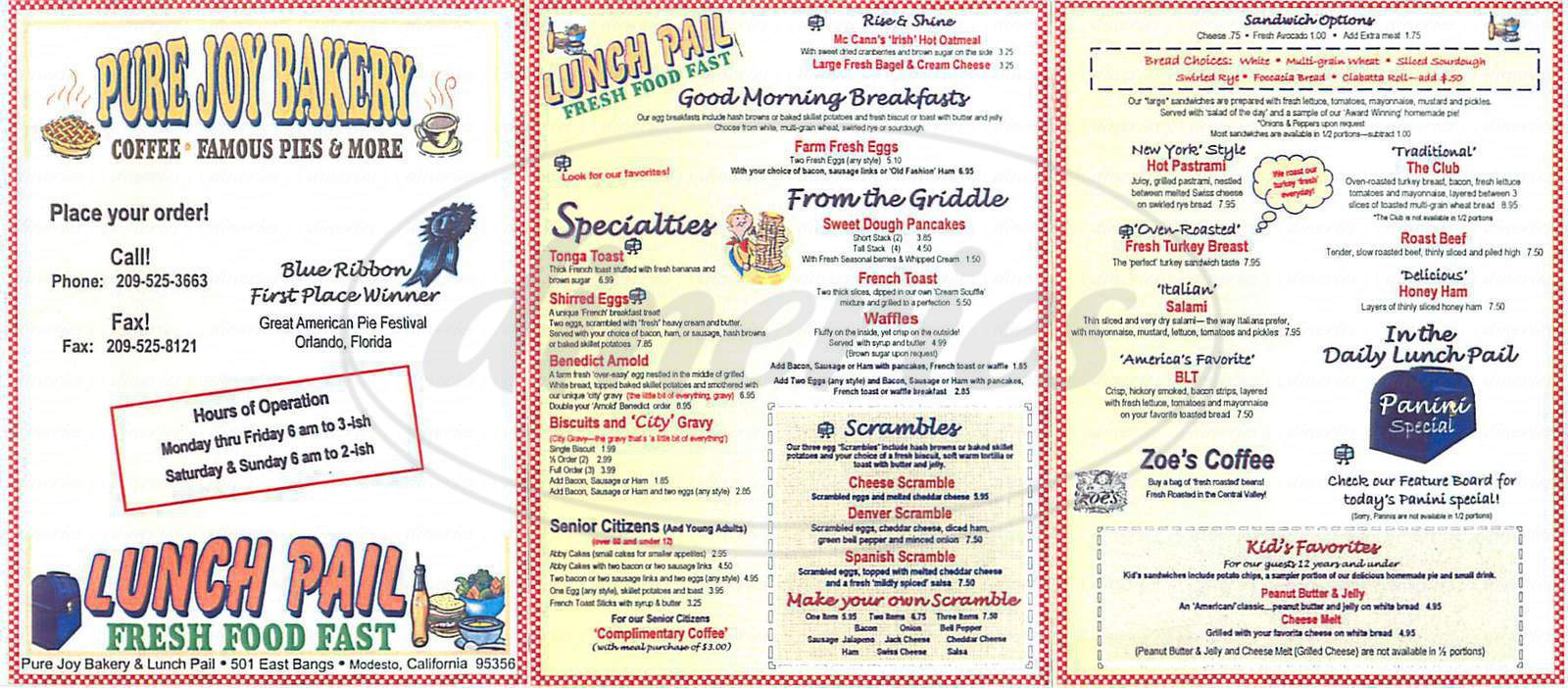 menu for Pure Joy Bakery