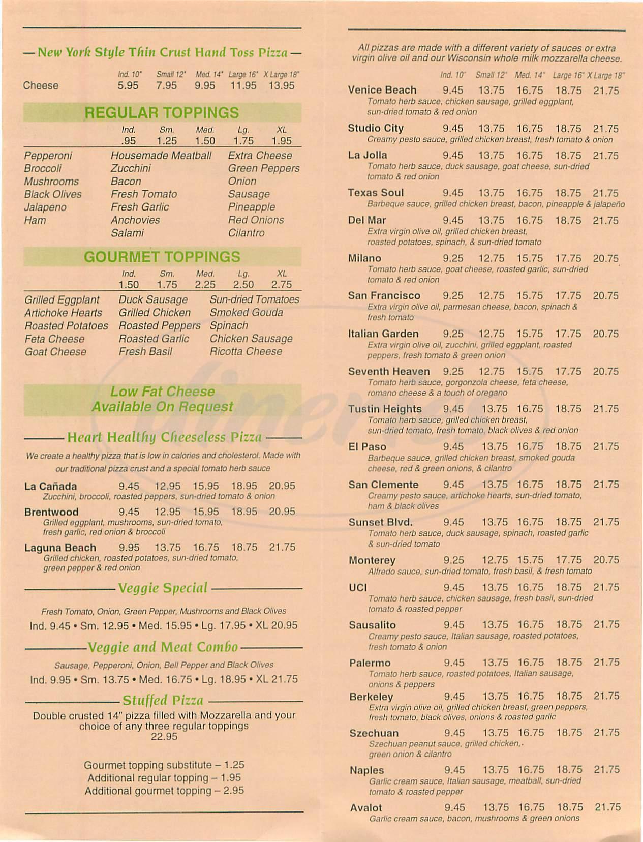 menu for Pizza Cucina