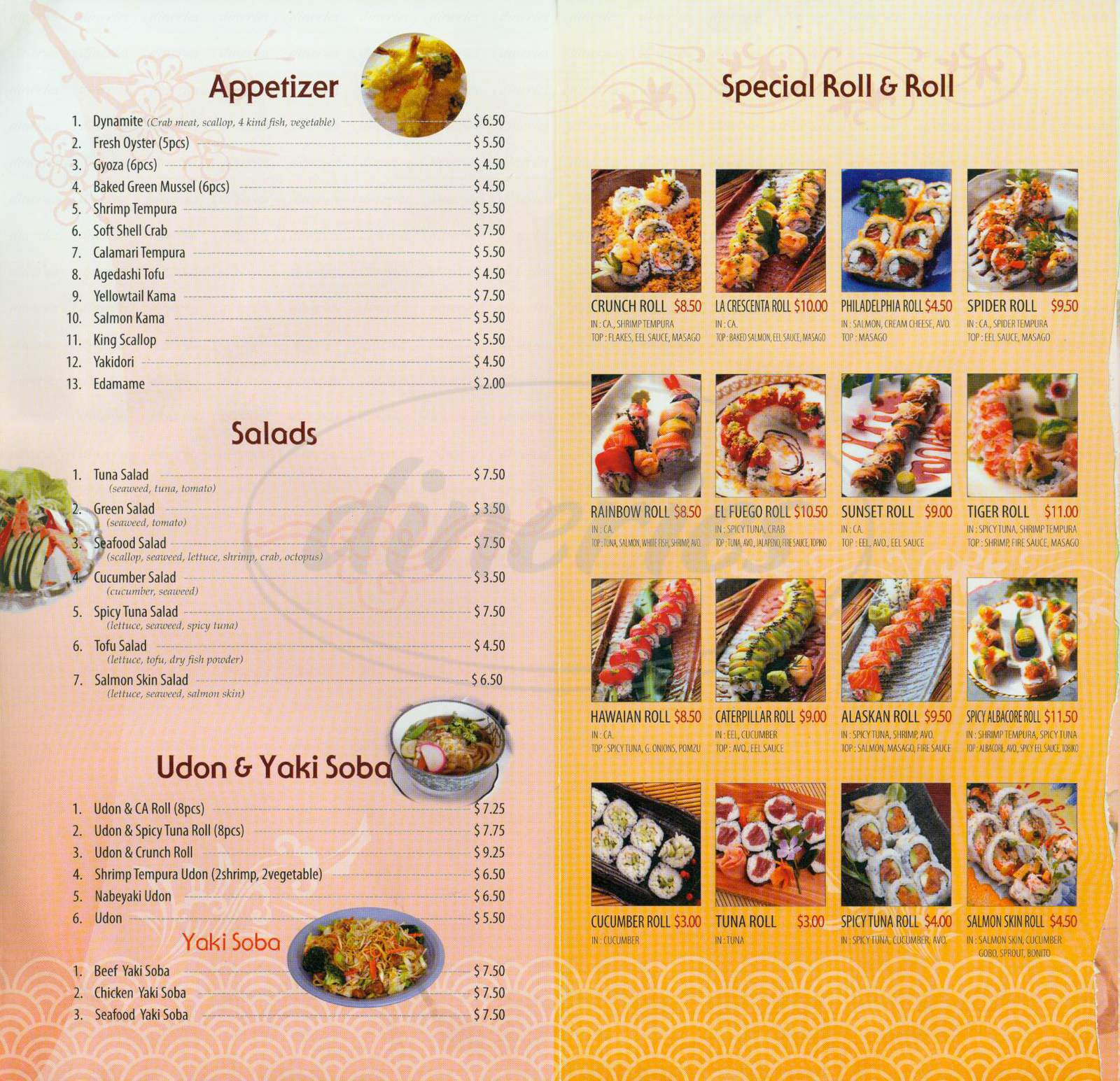 menu for Sushi USA