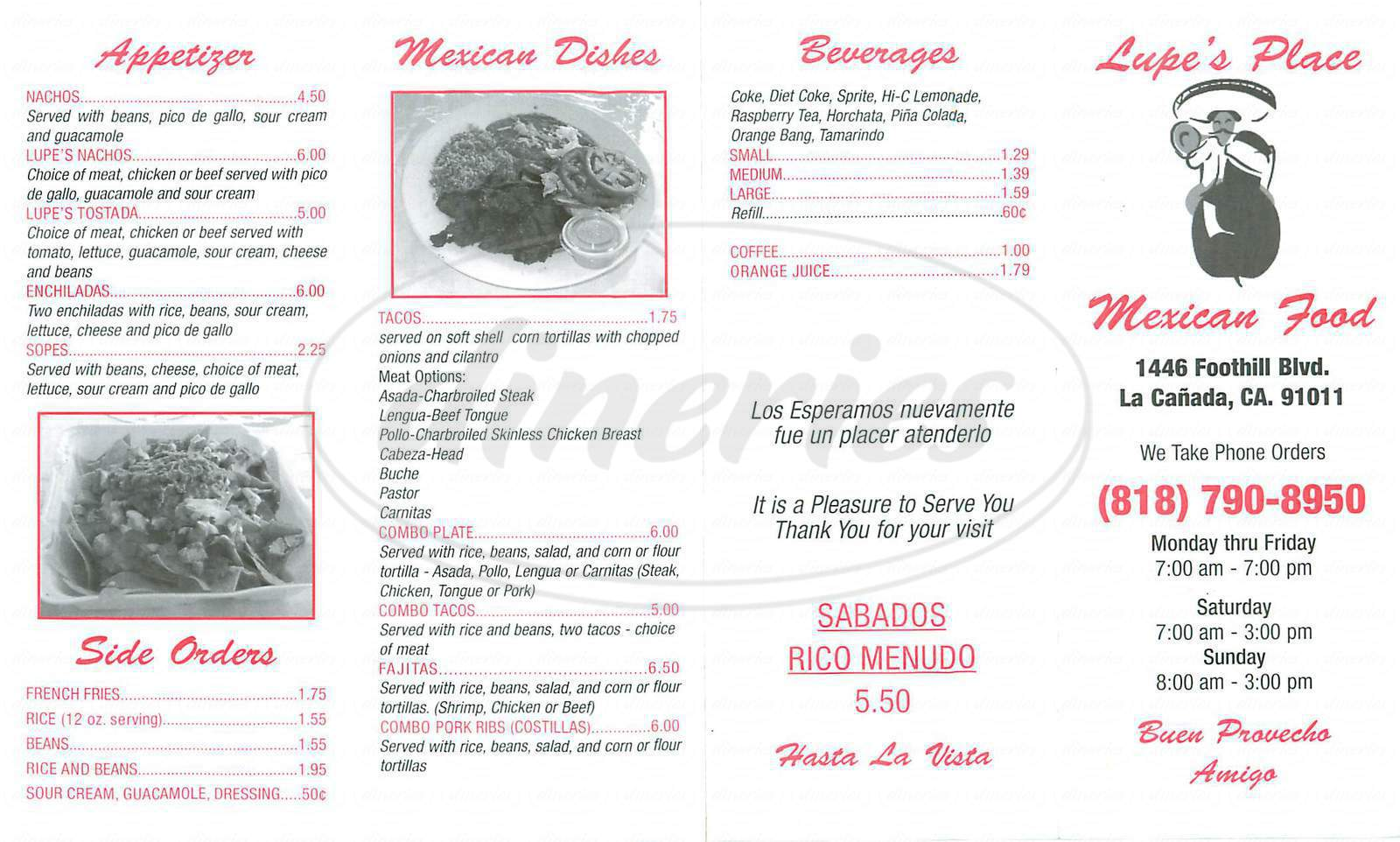 menu for Lupe's Place