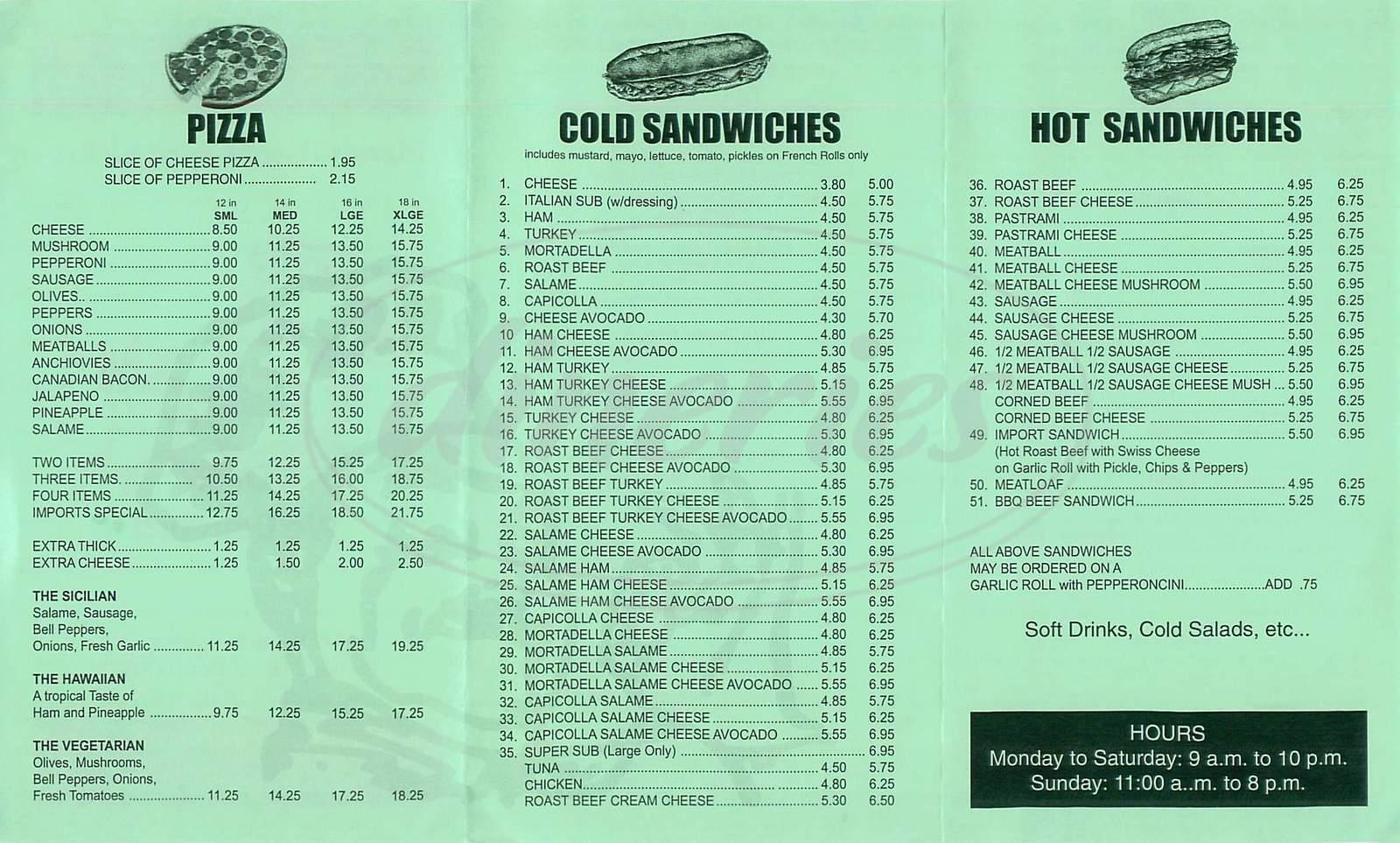 menu for La Canada Imports