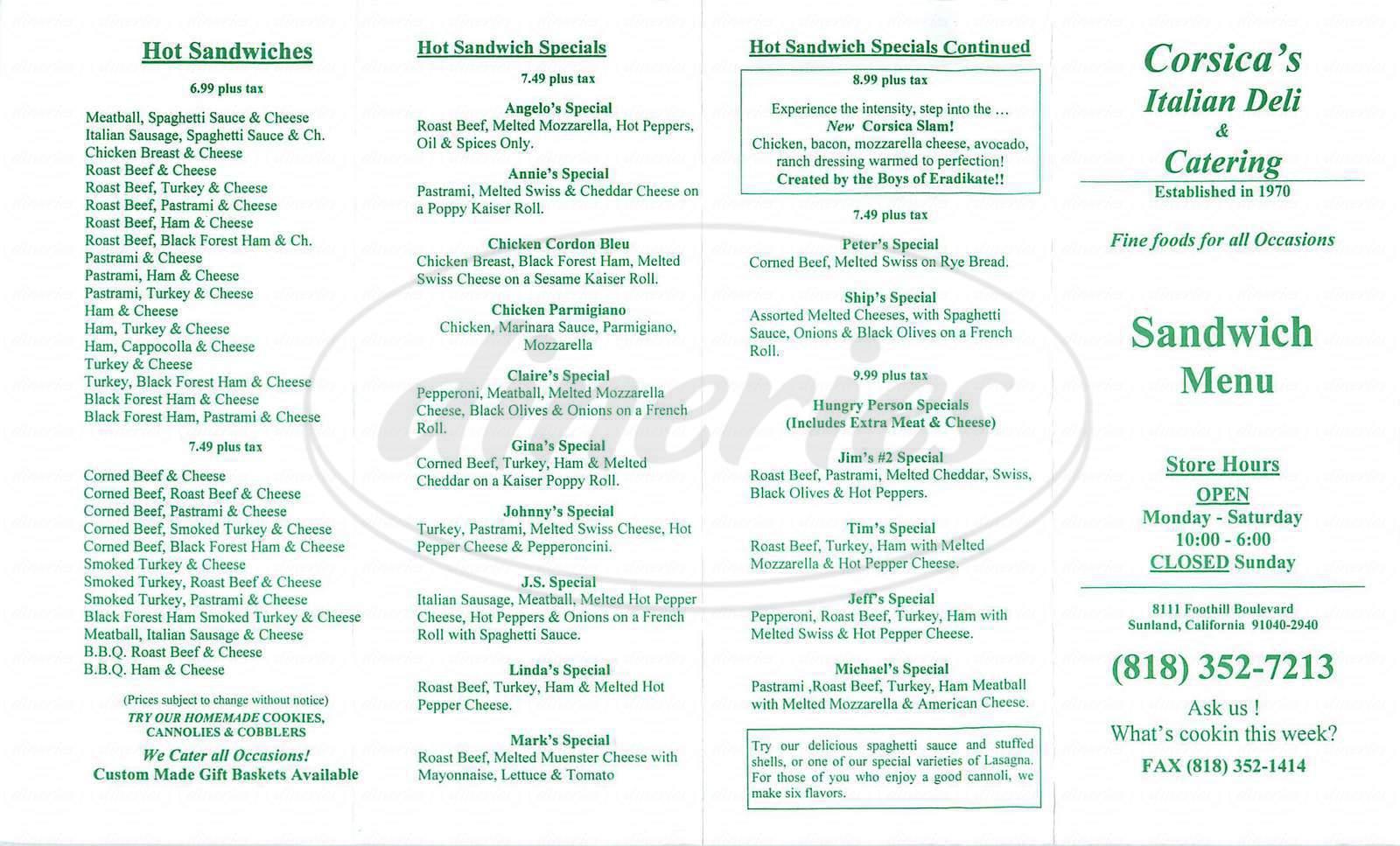 menu for Corsica's Italian Deli