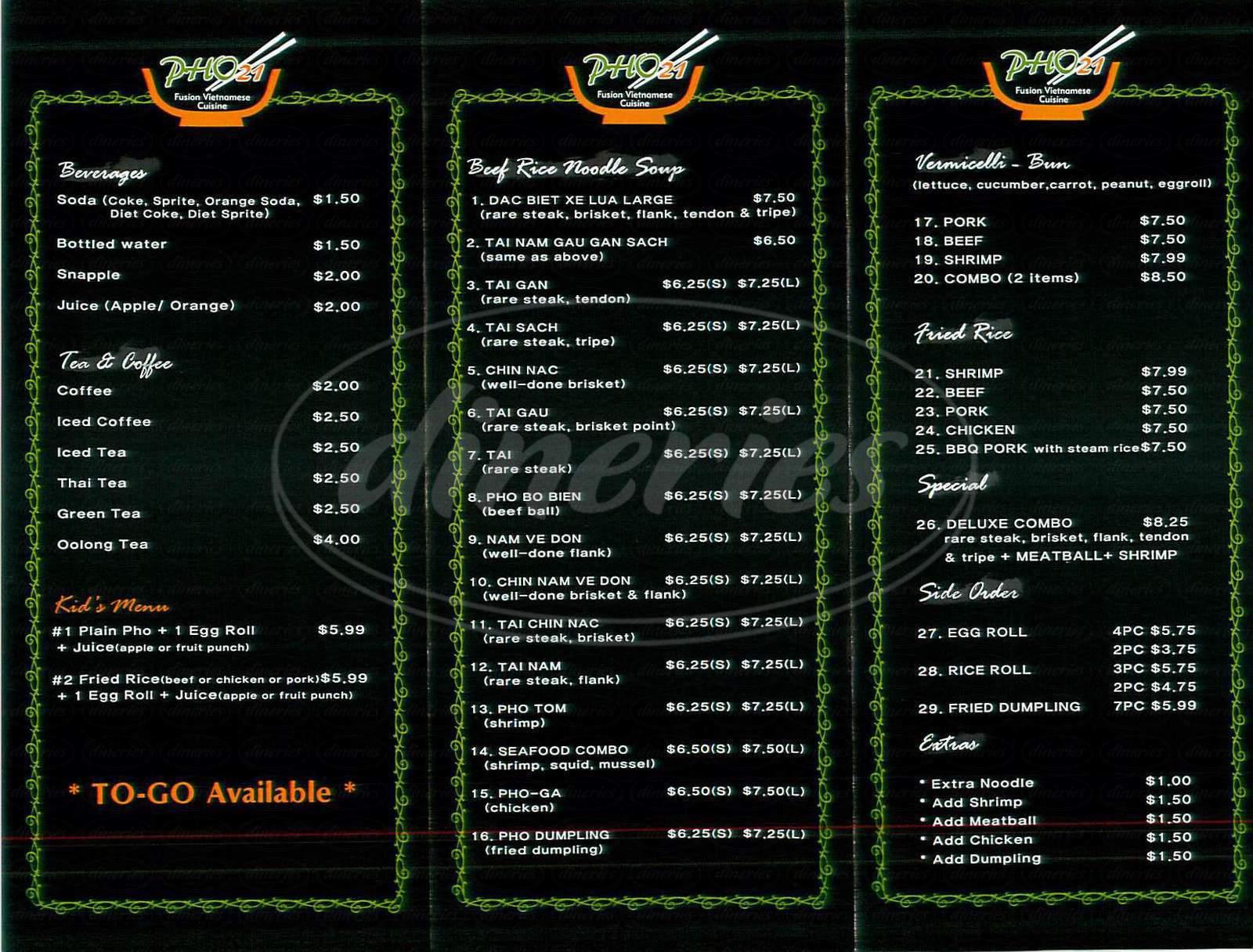 menu for Pho 21
