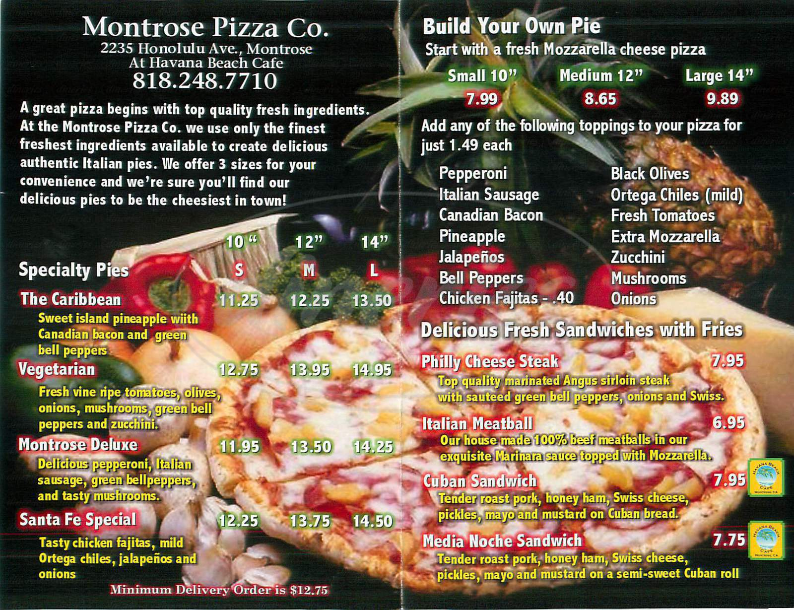 menu for Montrose Pizza Co.