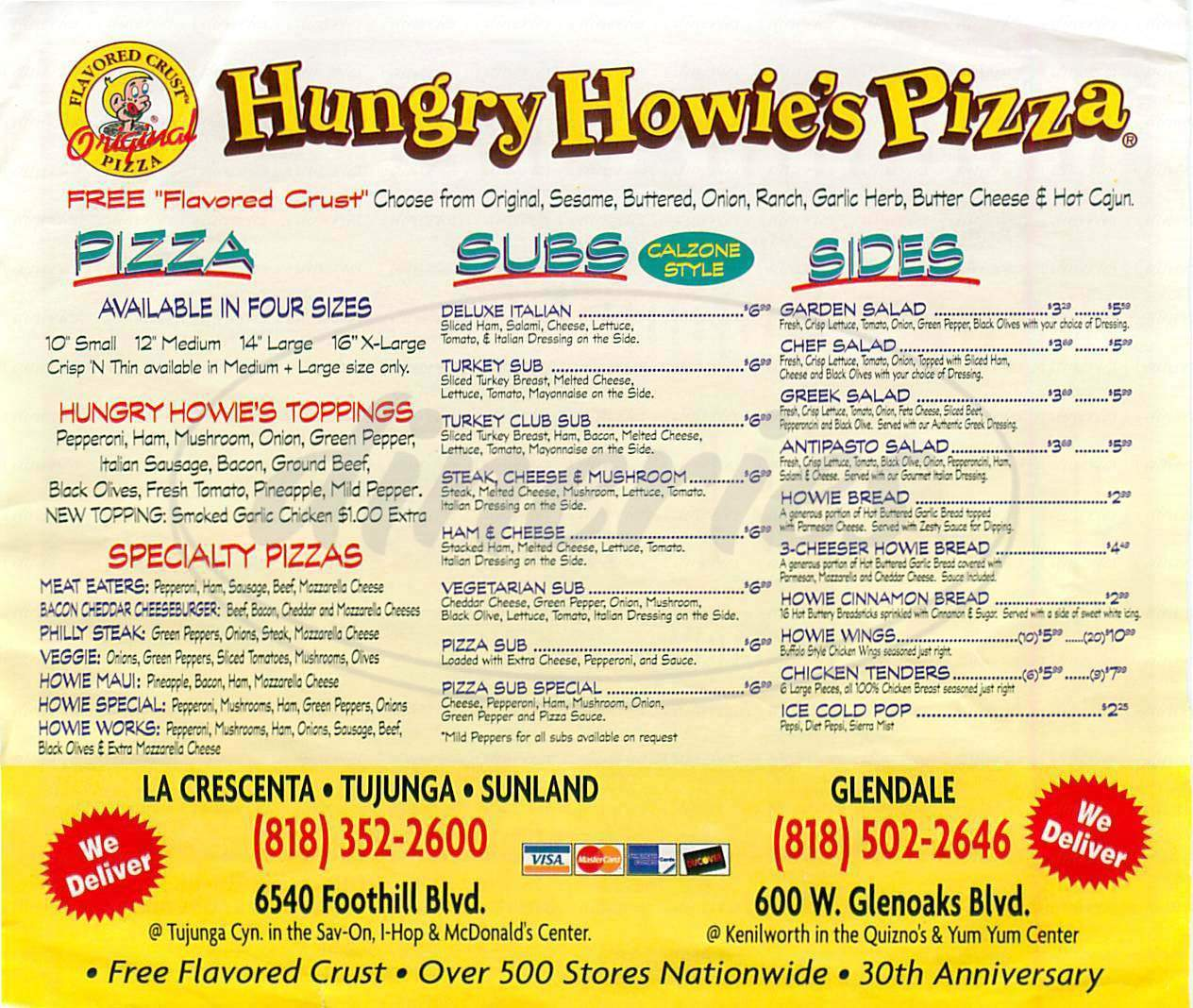 menu for Hungry Howie's Pizza