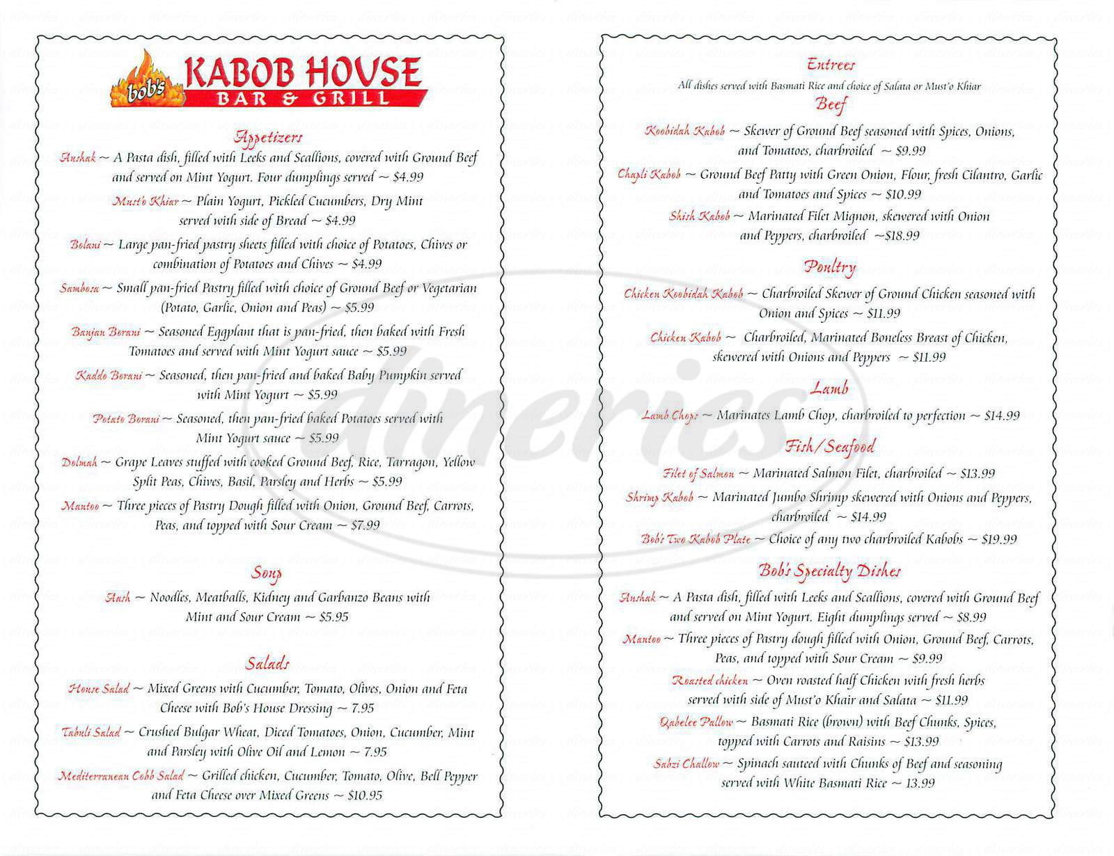 menu for Bob's Kabob House