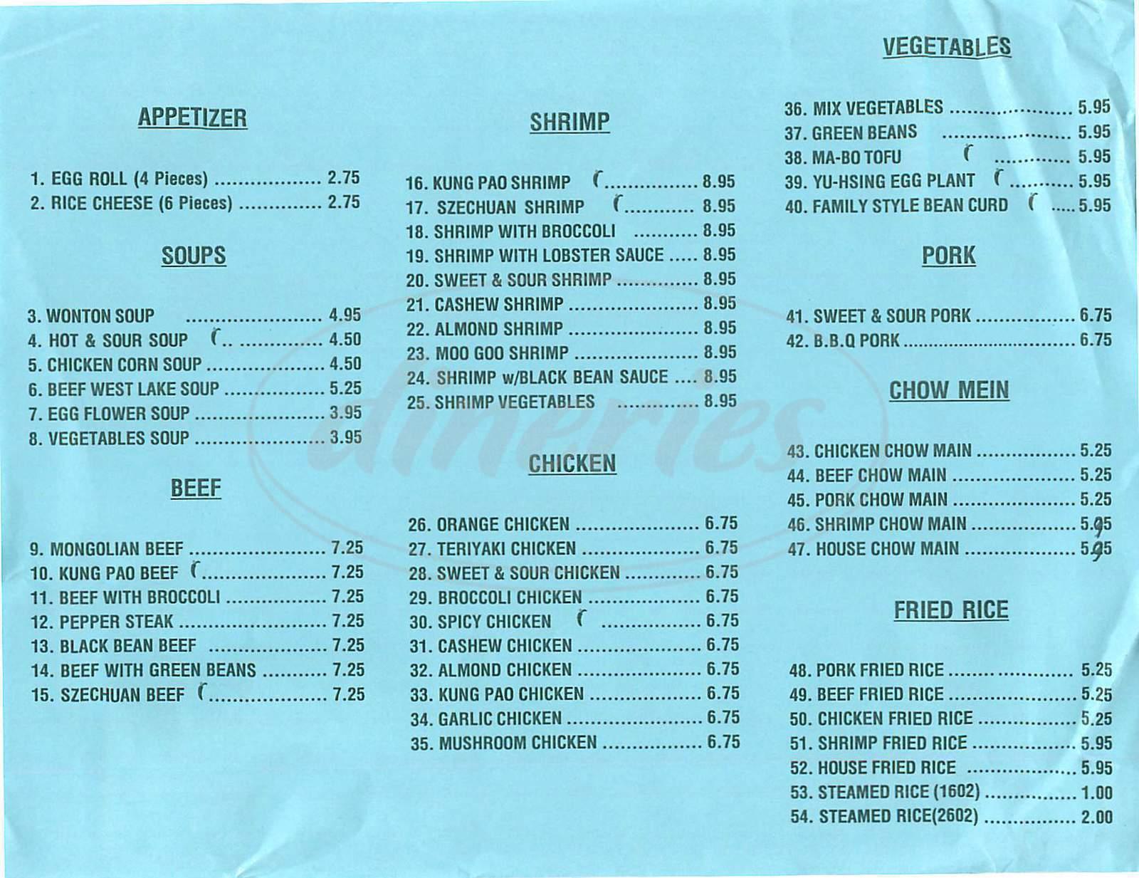 menu for Rising Sun