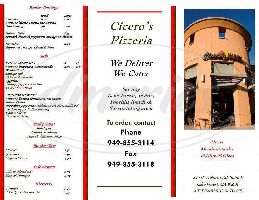menu for Cicero's Pizzeria