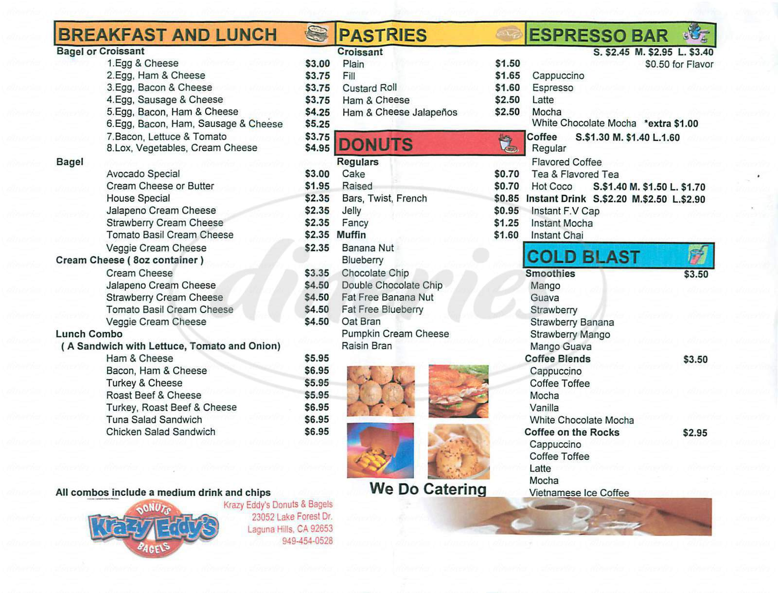 menu for Krazy Eddy's Donuts & Bagels