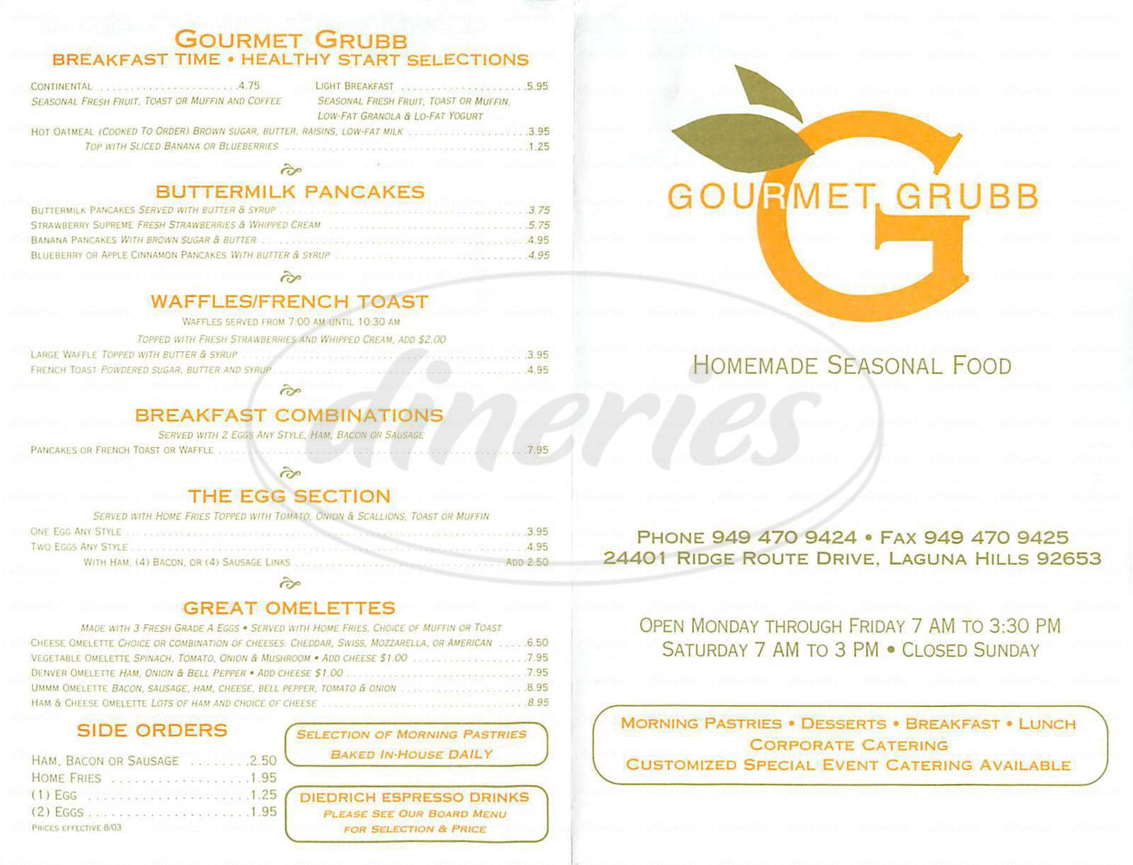 menu for Gourmet Grubb