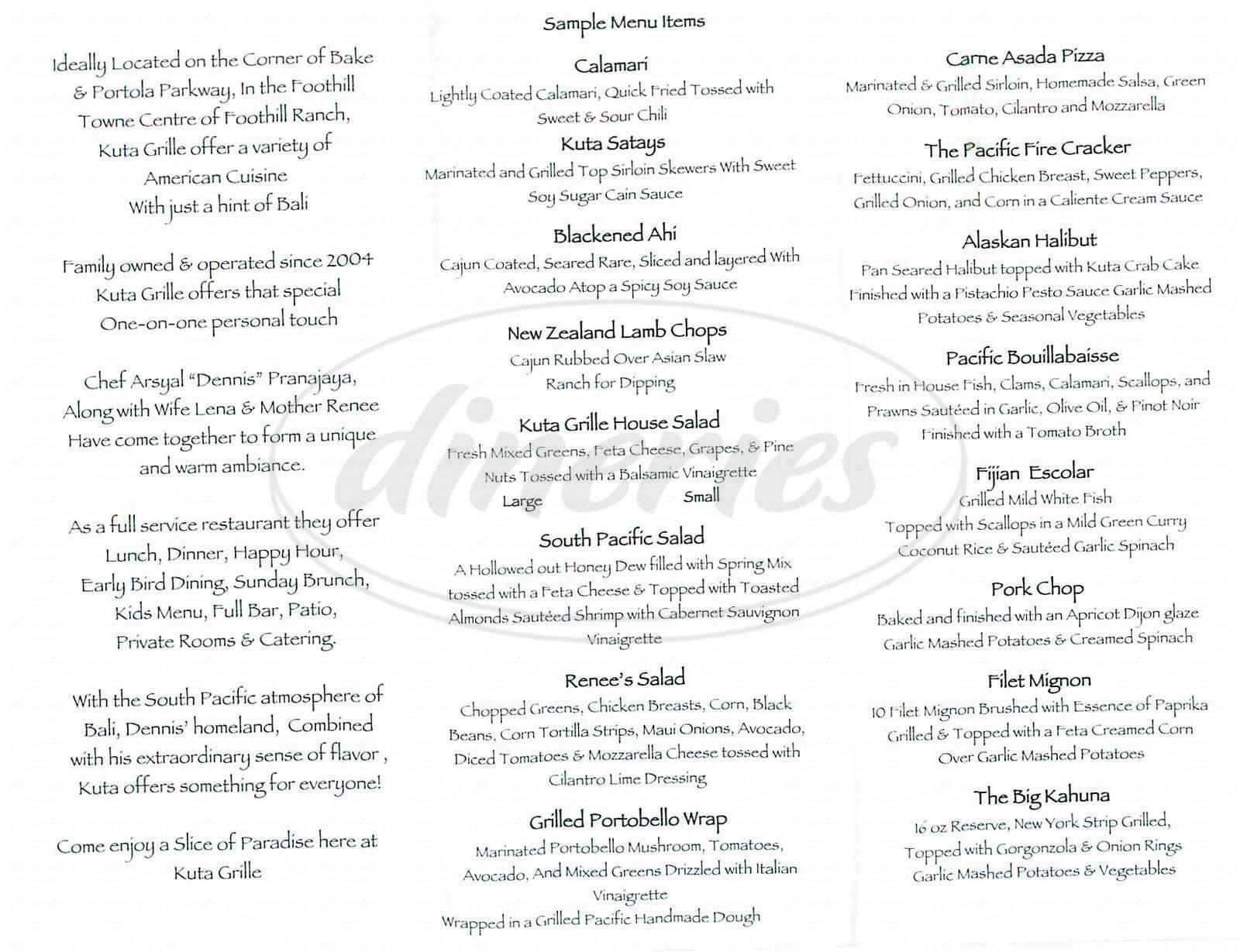 menu for Kuta Grille