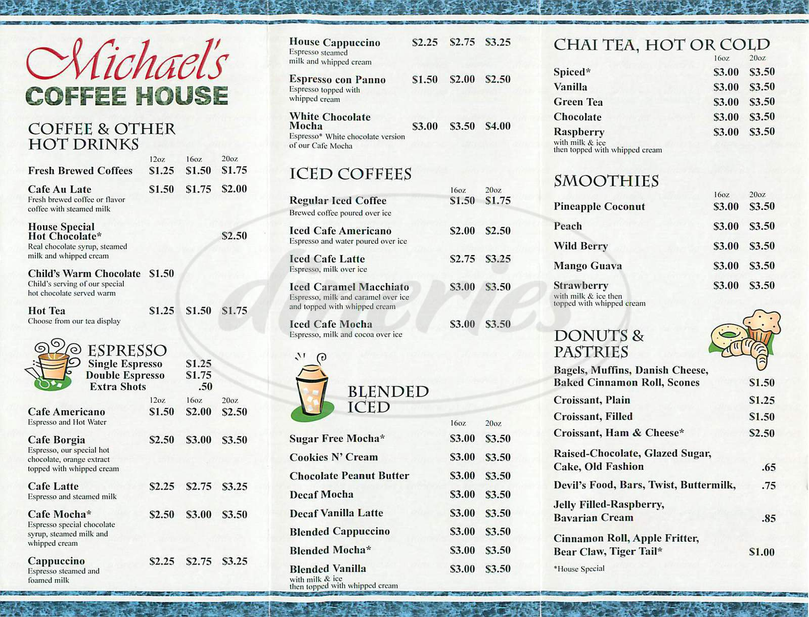 menu for Michael's Coffee House