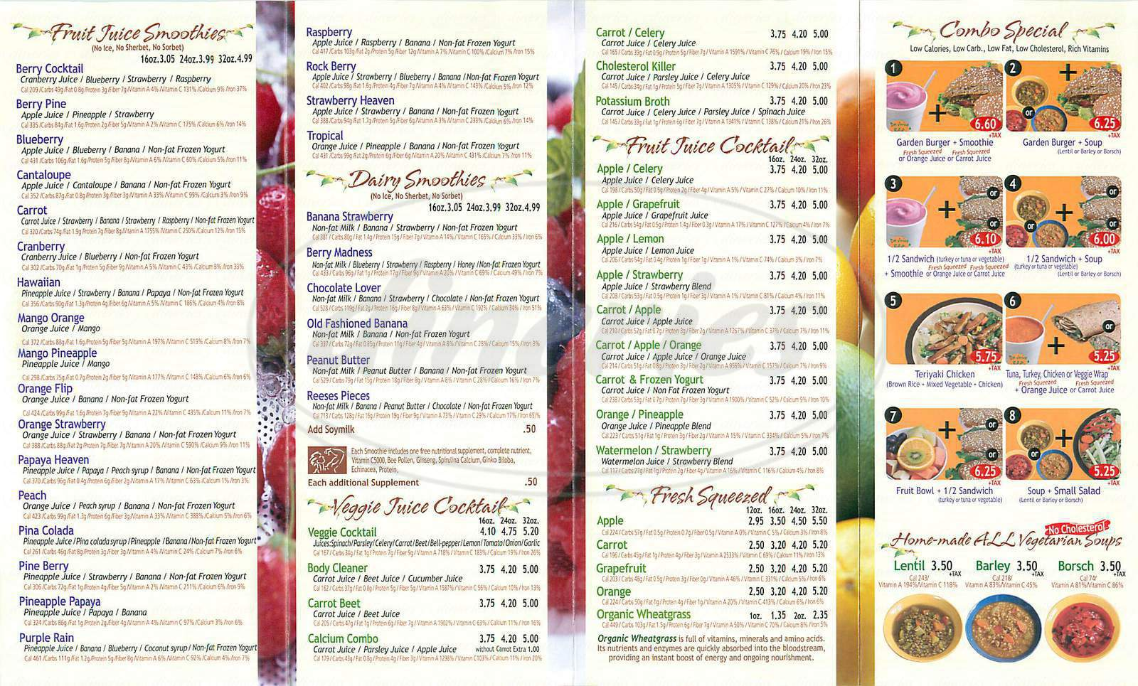 menu for Da Juice Bar
