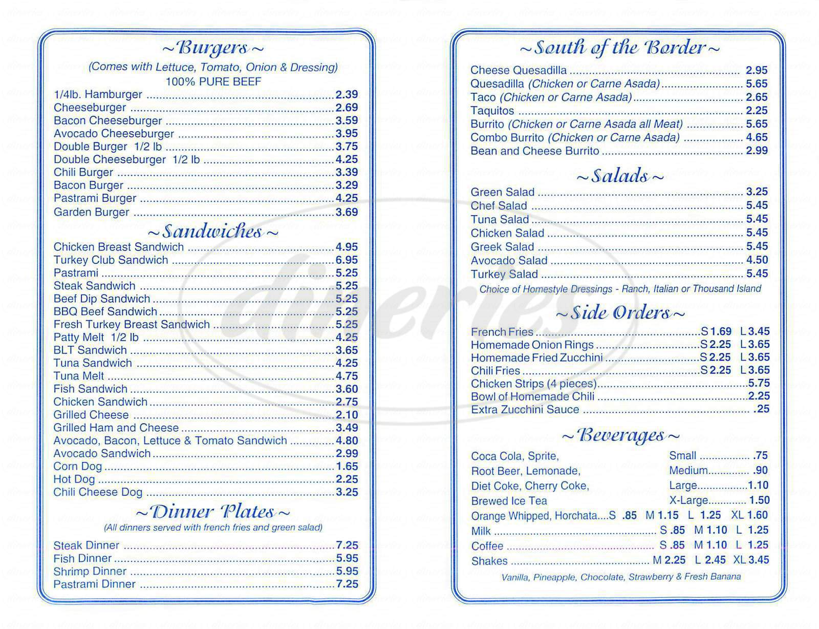 menu for Jim's Famous Charbroiled Burgers