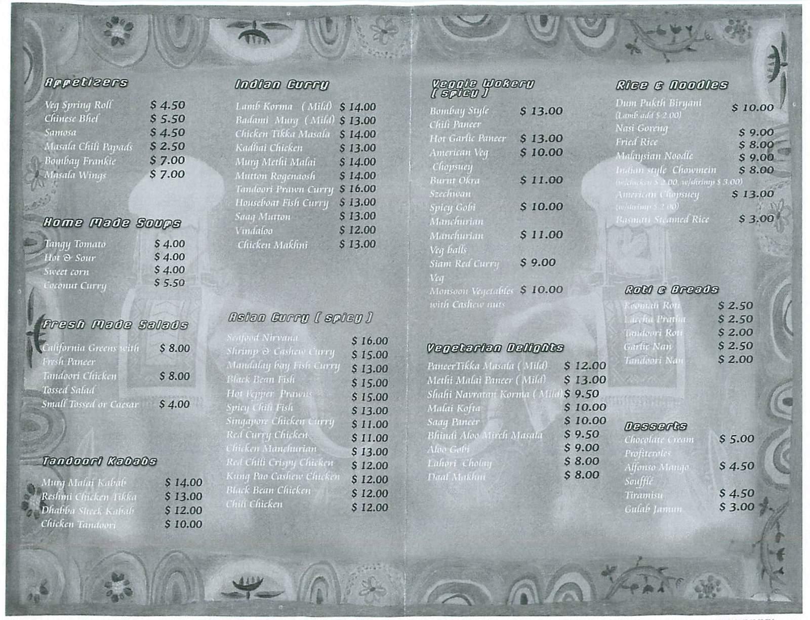 menu for Nirvana Indian Cuisine