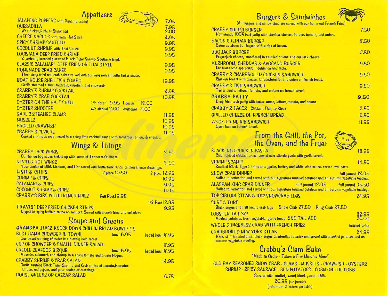 menu for Crabby's Boat House