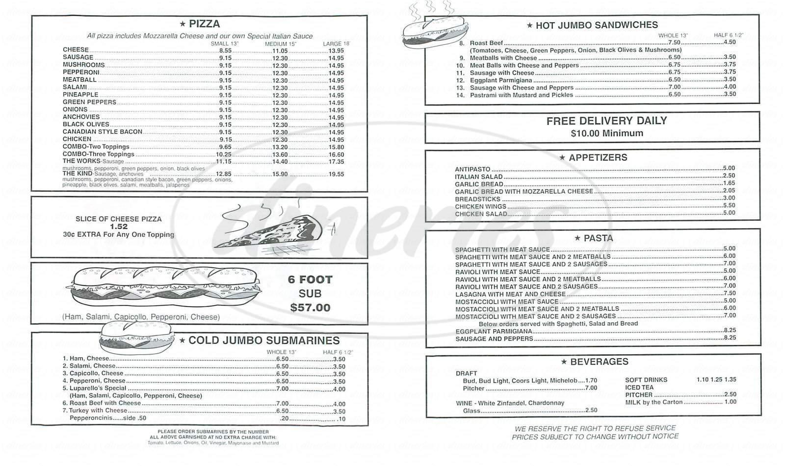 menu for Luparello's Pizza