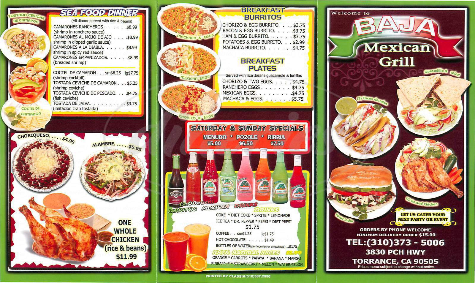 menu for Baja Mexican Grill