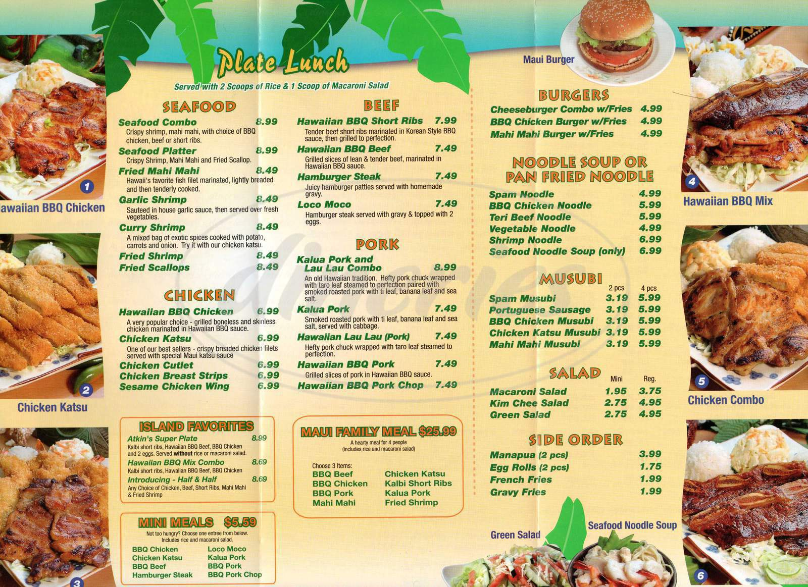 menu for Maui Hawaiian BBQ