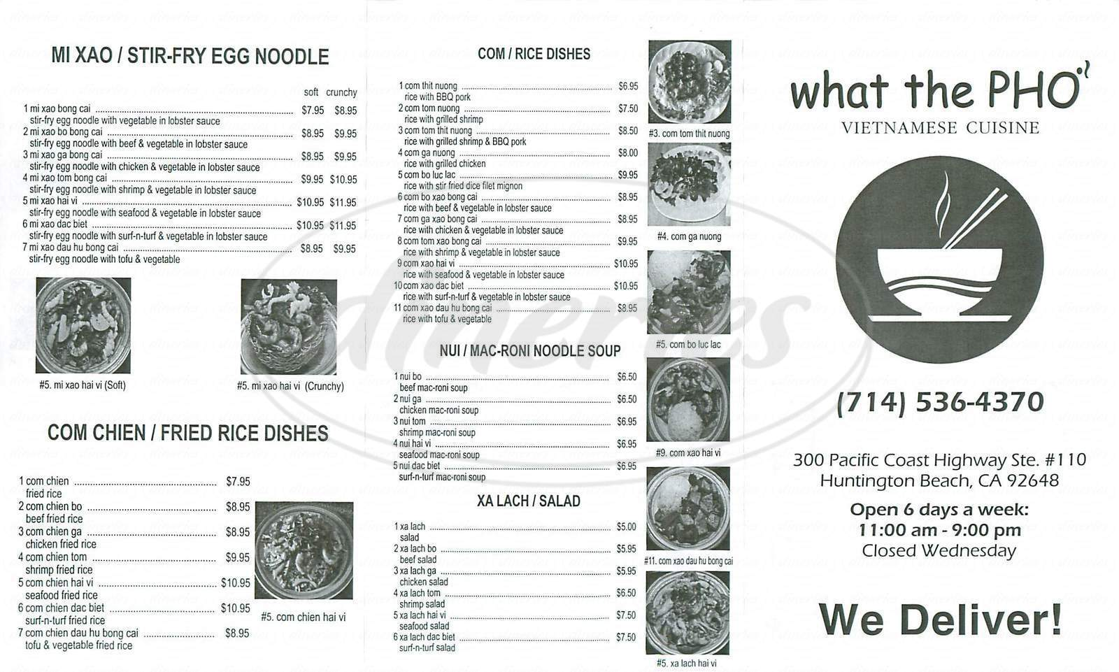 menu for What the Pho