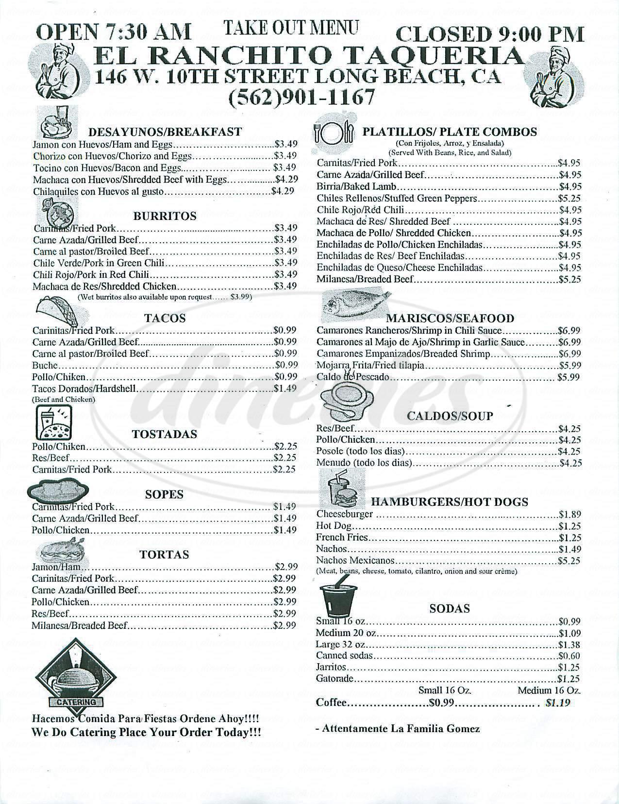 menu for El Ranchito Taqueria