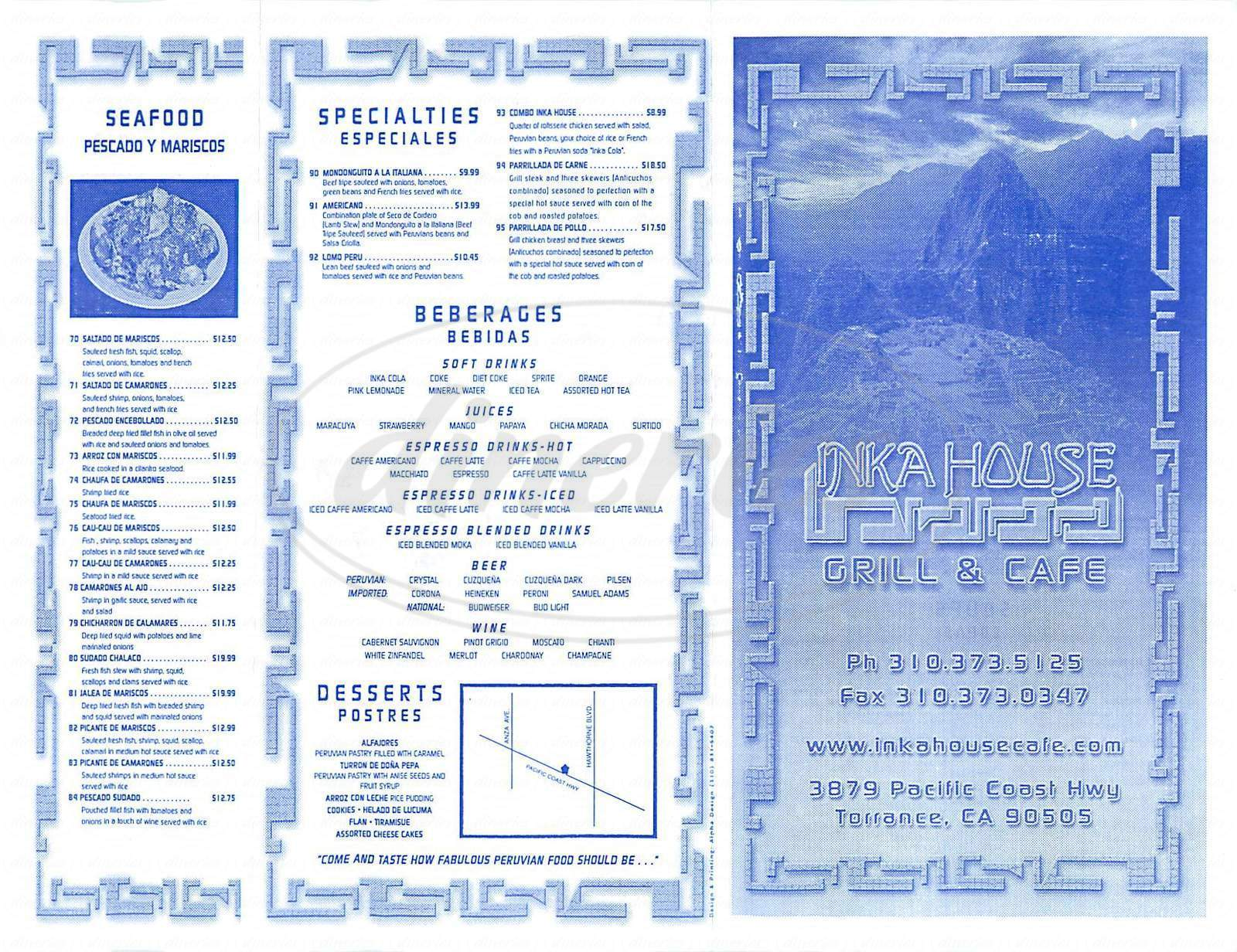 menu for Inka House Grill & Cafe