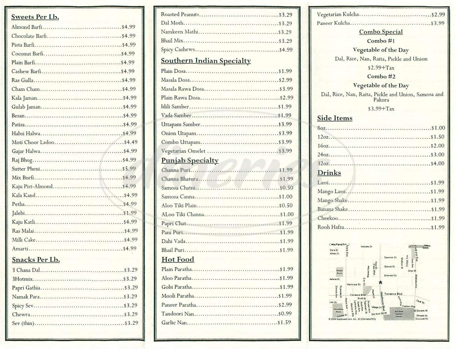 menu for All Indian Sweets and Snacks