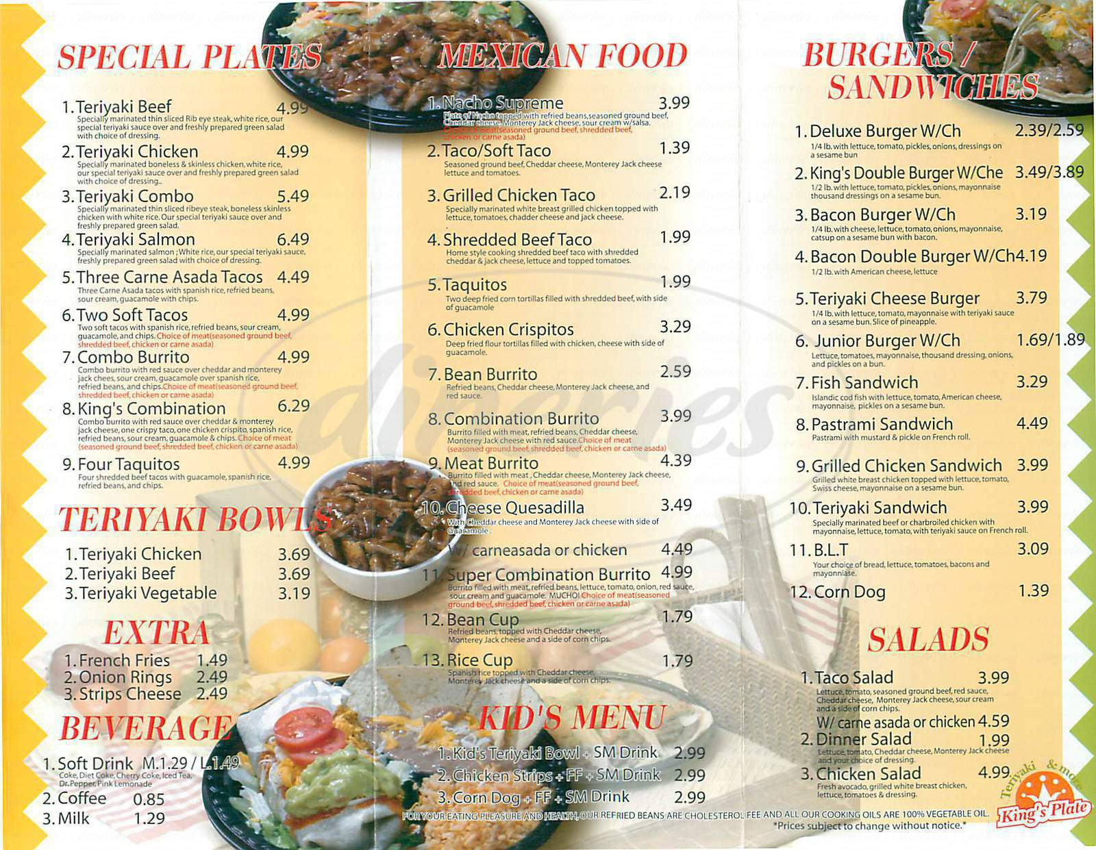 menu for King's Plate Teriyaki and More