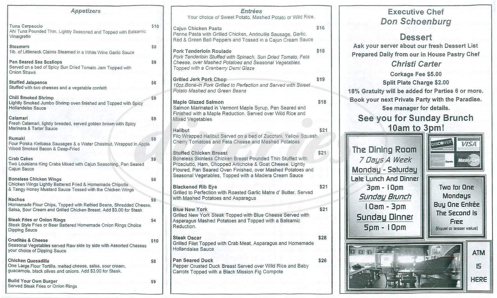 menu for Paradise