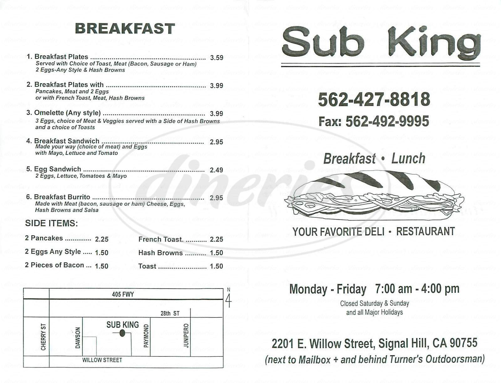 menu for Sub King