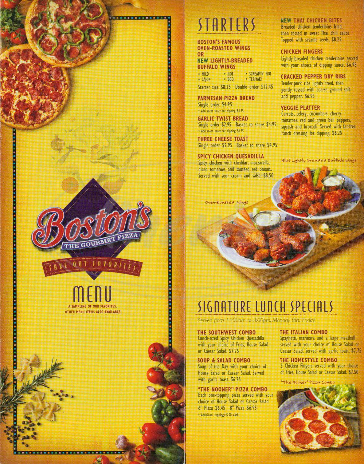 menu for Boston's Gourmet Pizza