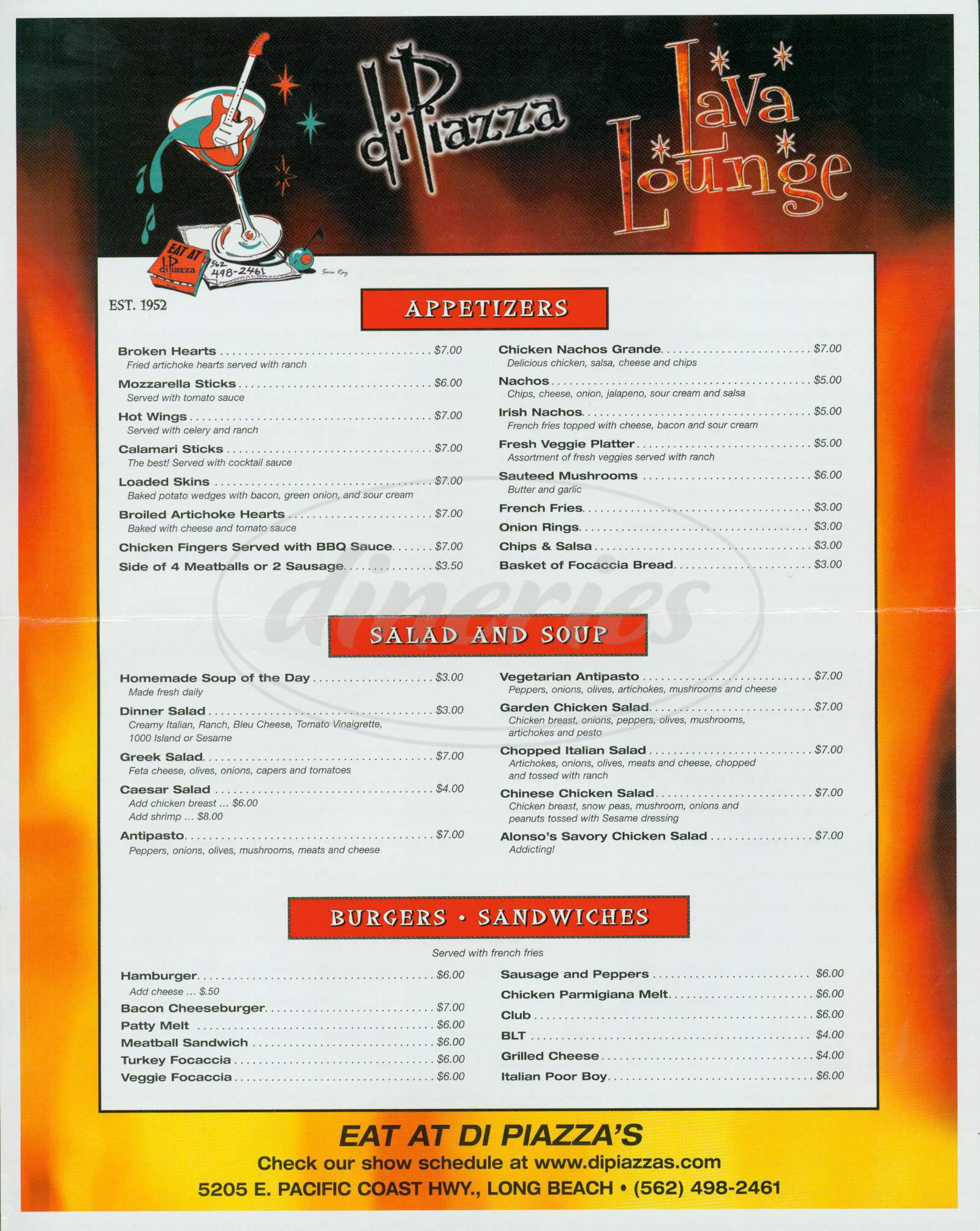 menu for Di Piazza