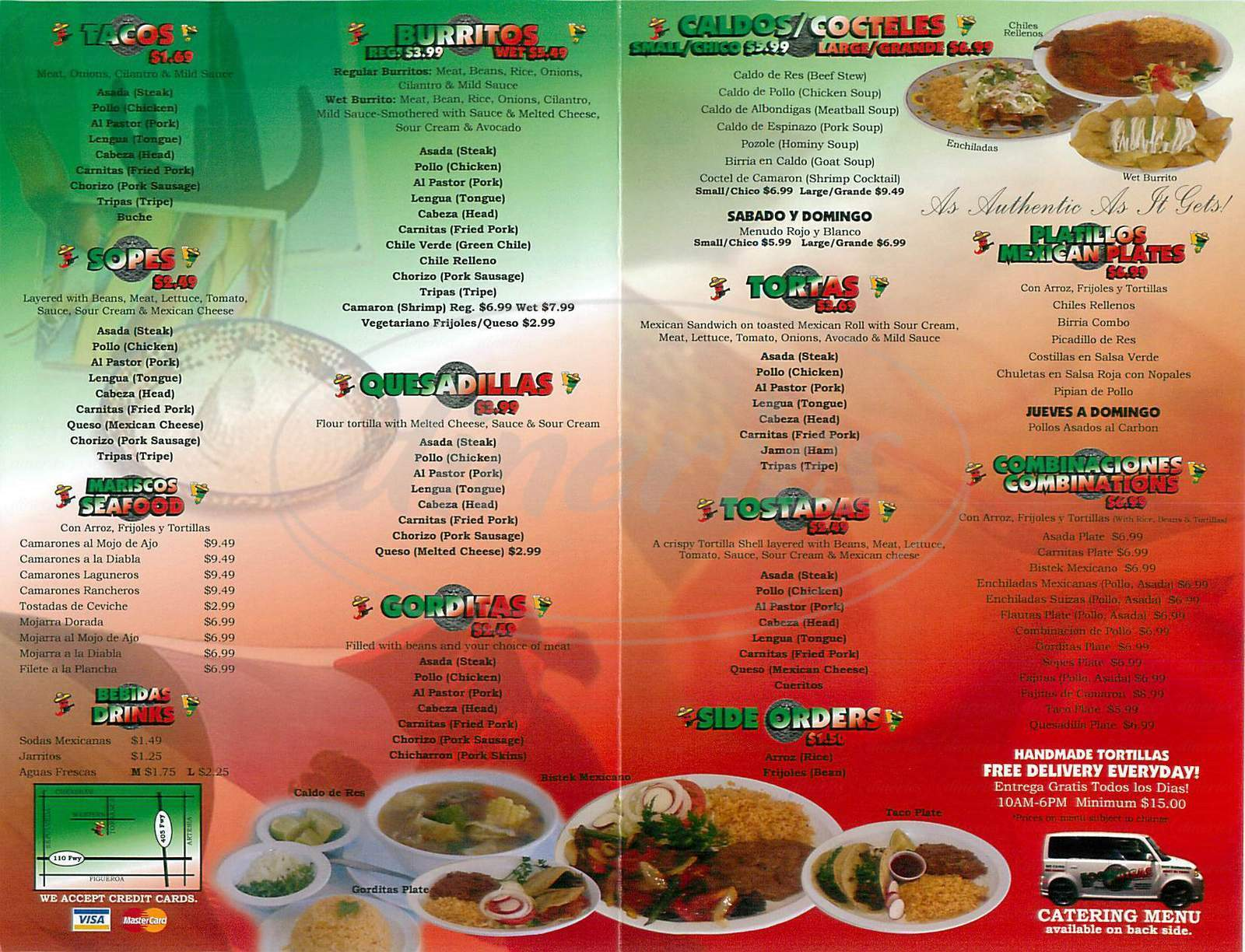 menu for Los Paisas