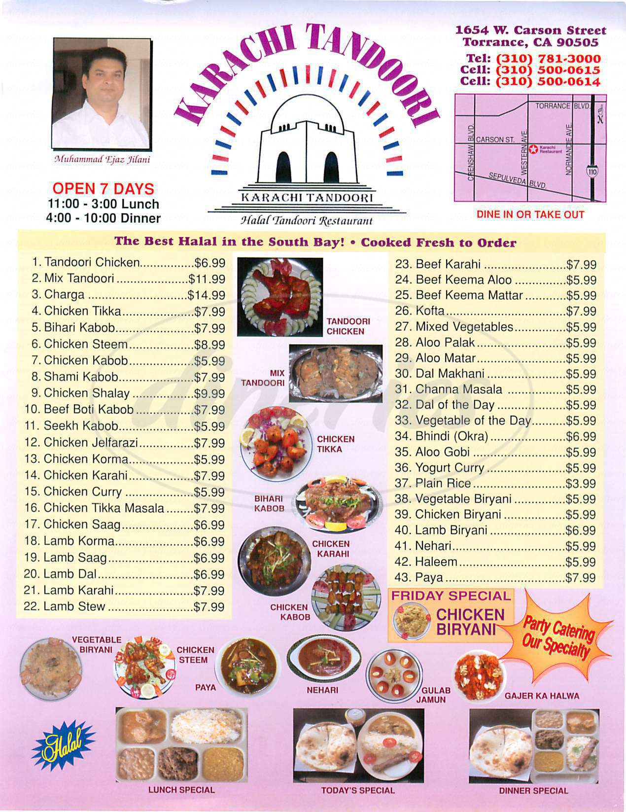 menu for Karachi Tandoori