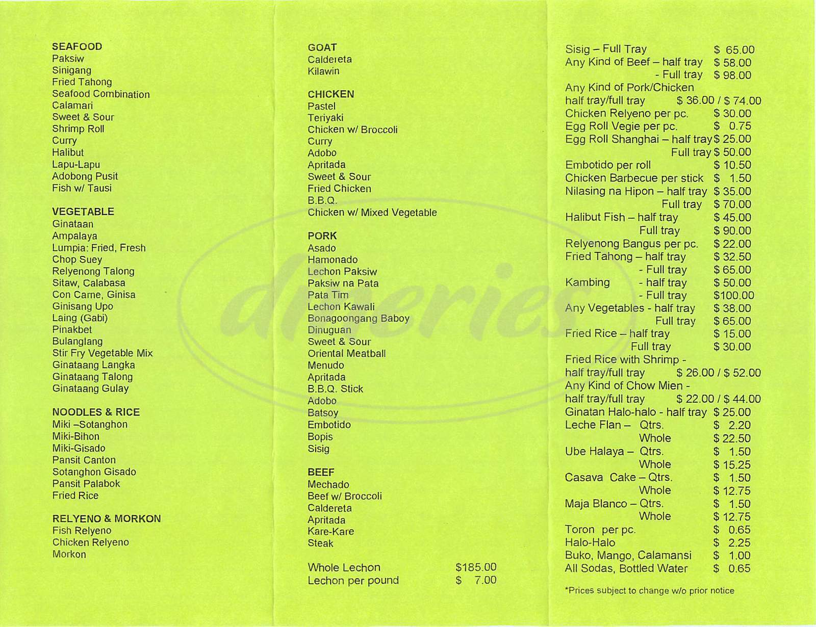 menu for Ricardo's Lechon Express