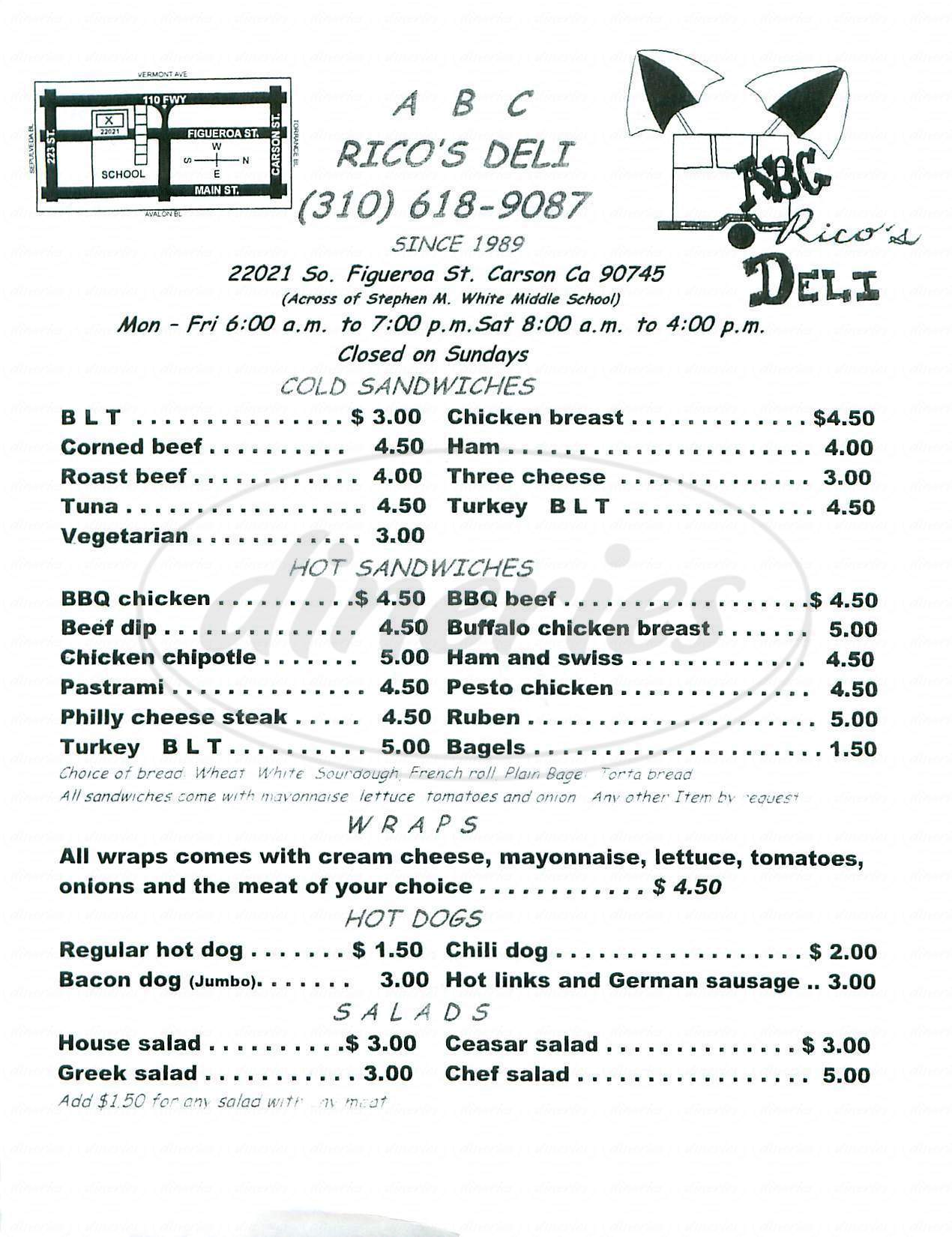 menu for ABC Rico's Deli