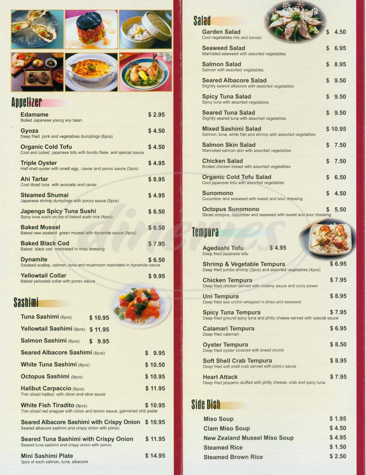 menu for Japengo