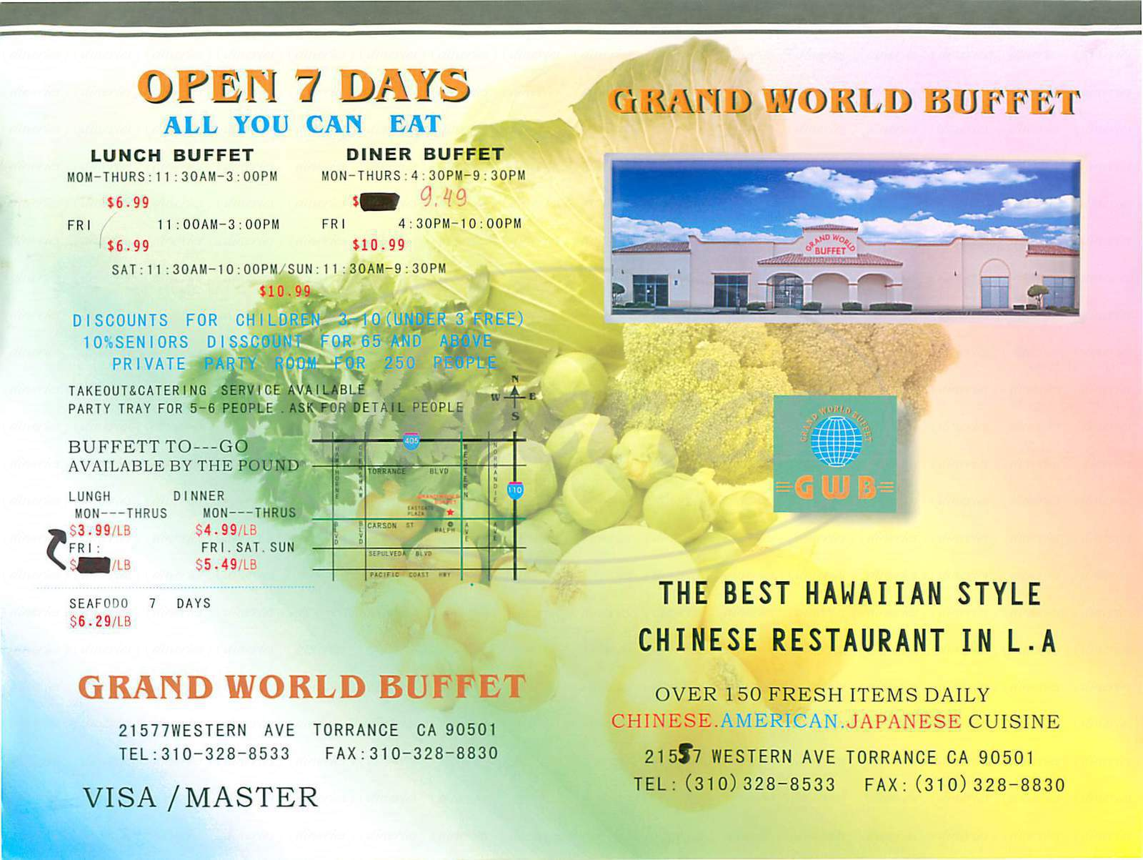 menu for Grand World Buffet