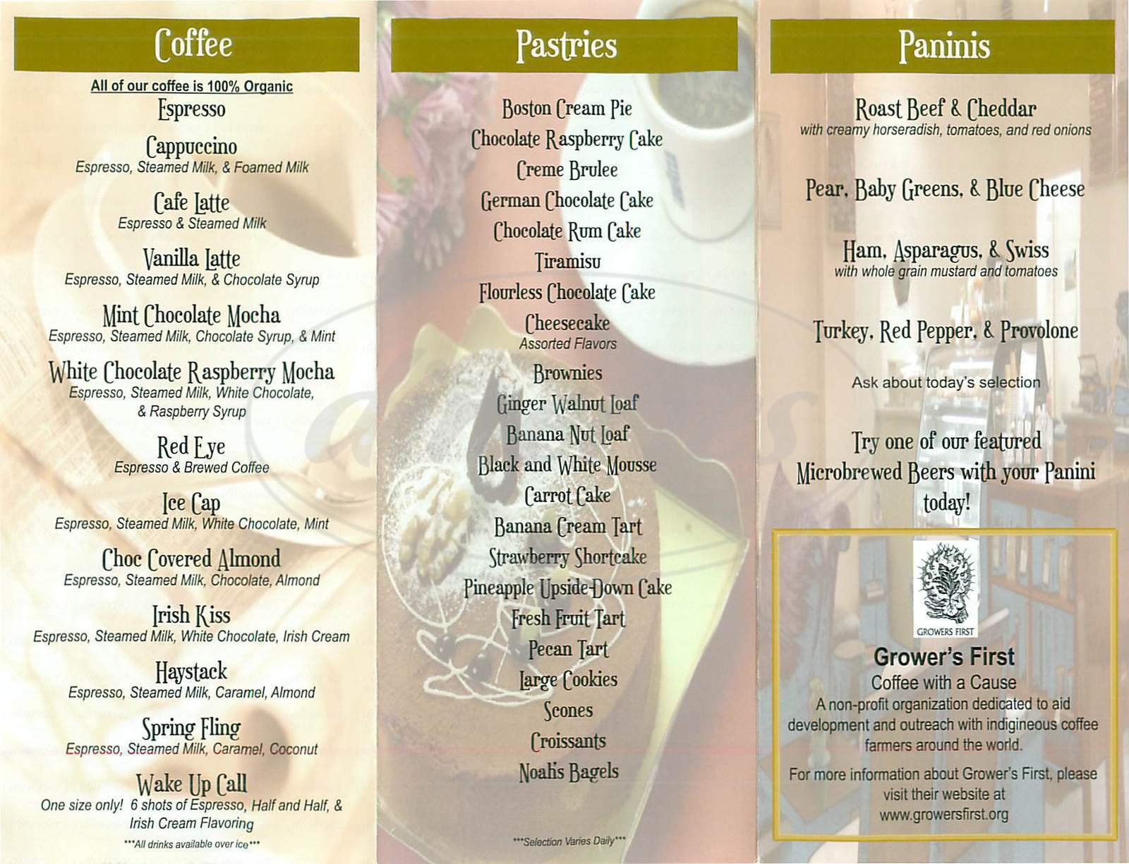 menu for Creama Coffee & Pastry