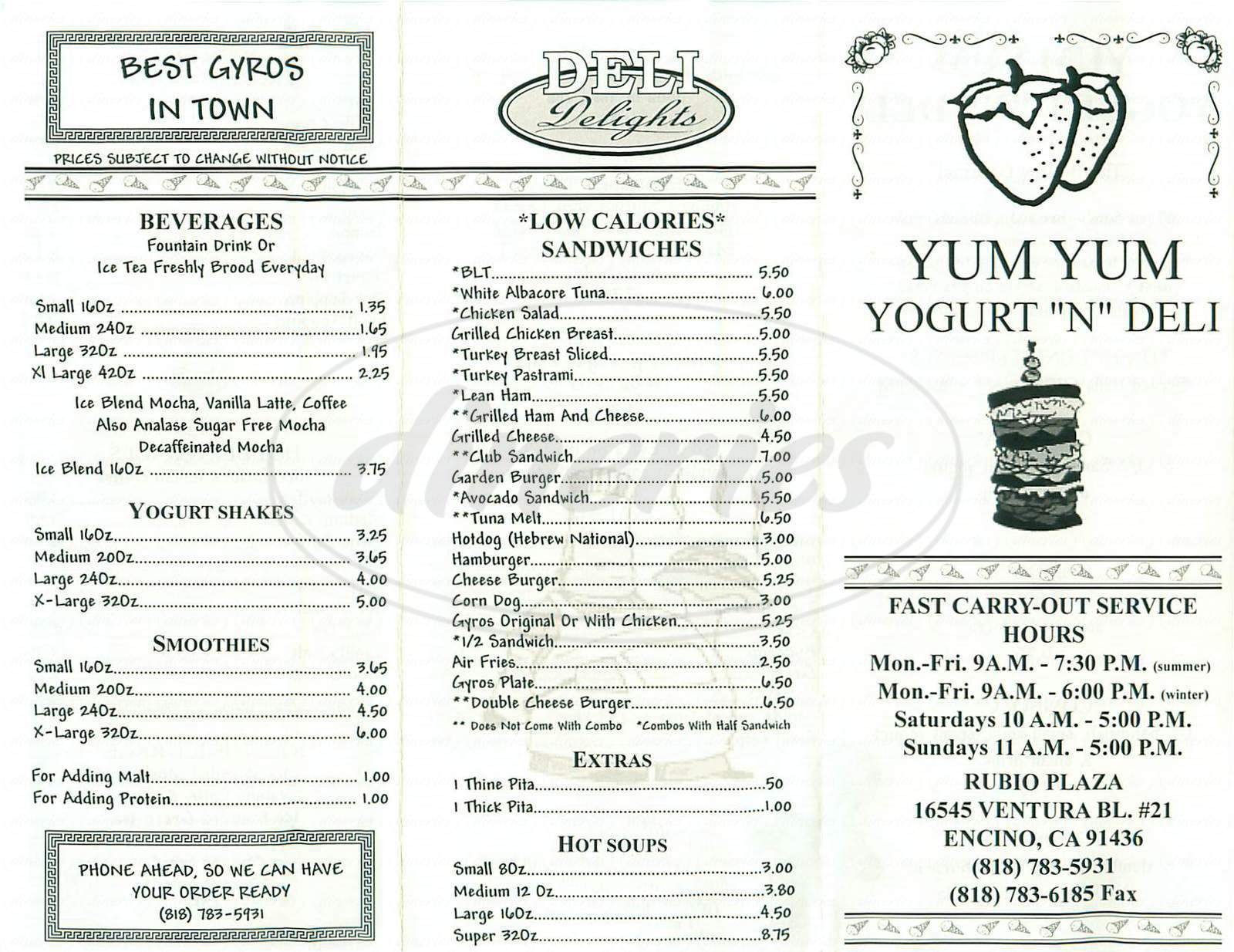 menu for Yum Yum Yogurt & Deli
