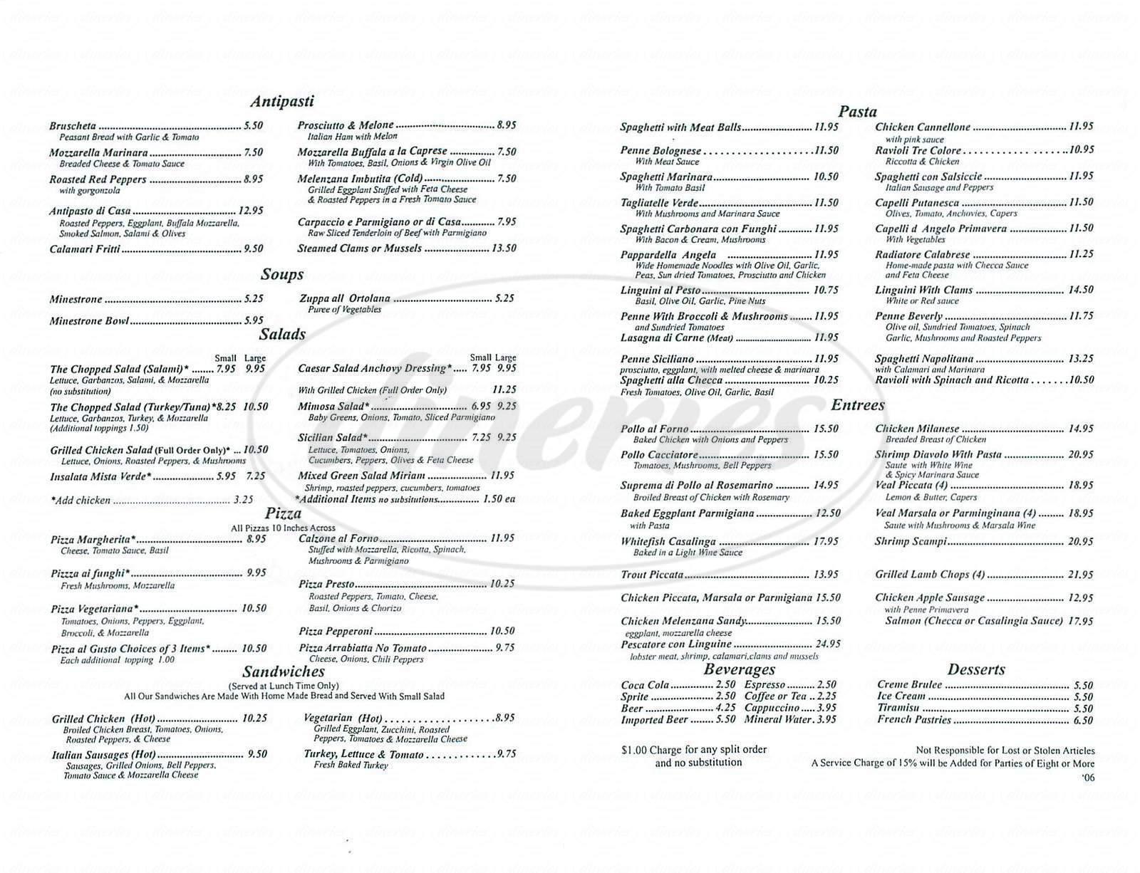 menu for Emilio's Trattoria