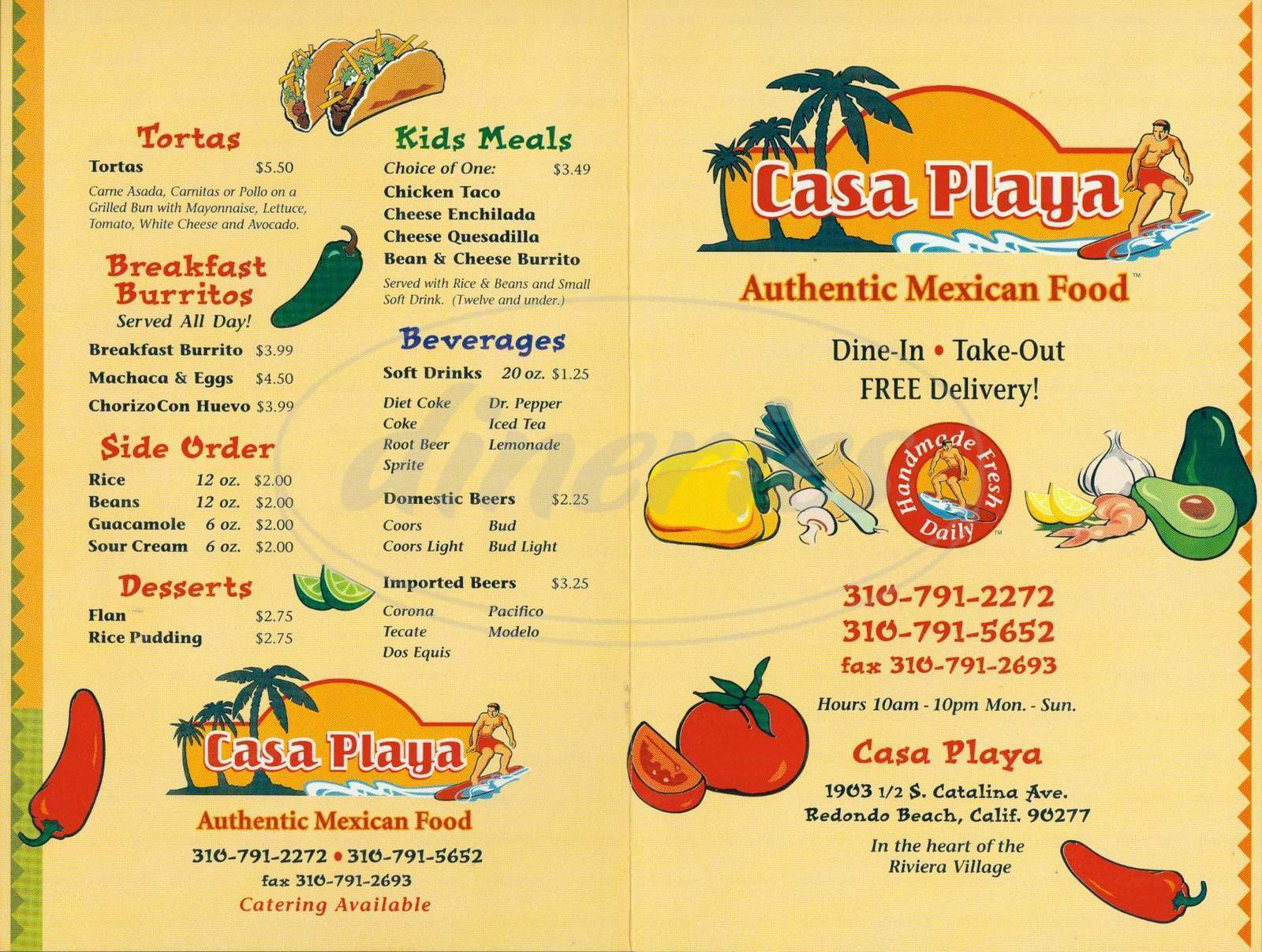 menu for Casa Playa