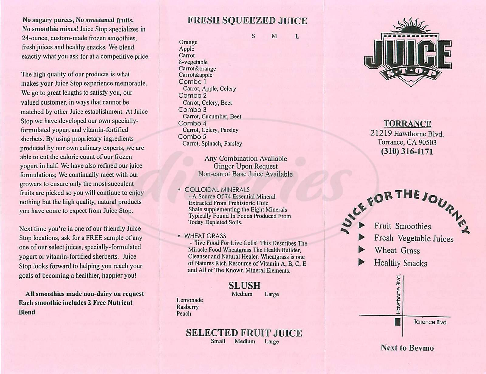 menu for Juice Stop